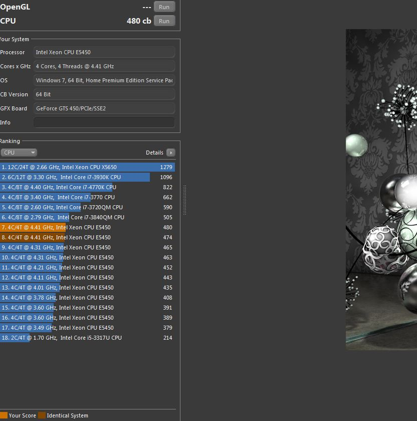 avail12`s Cinebench - R15 score: 480 cb with a Xeon E5450