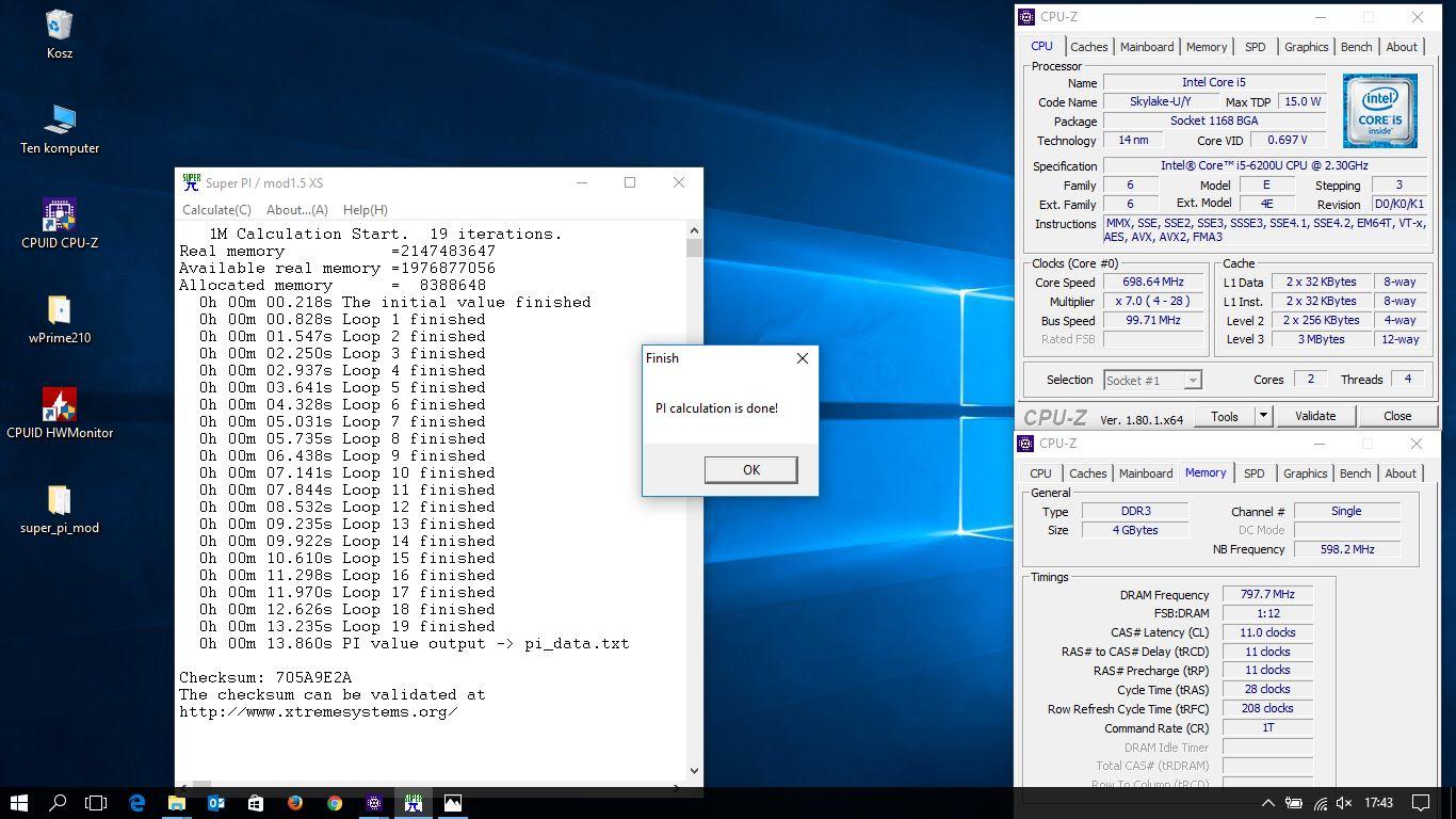 SonSiaT`s SuperPi - 1M score: 13sec 860ms with a Core i5 6200U
