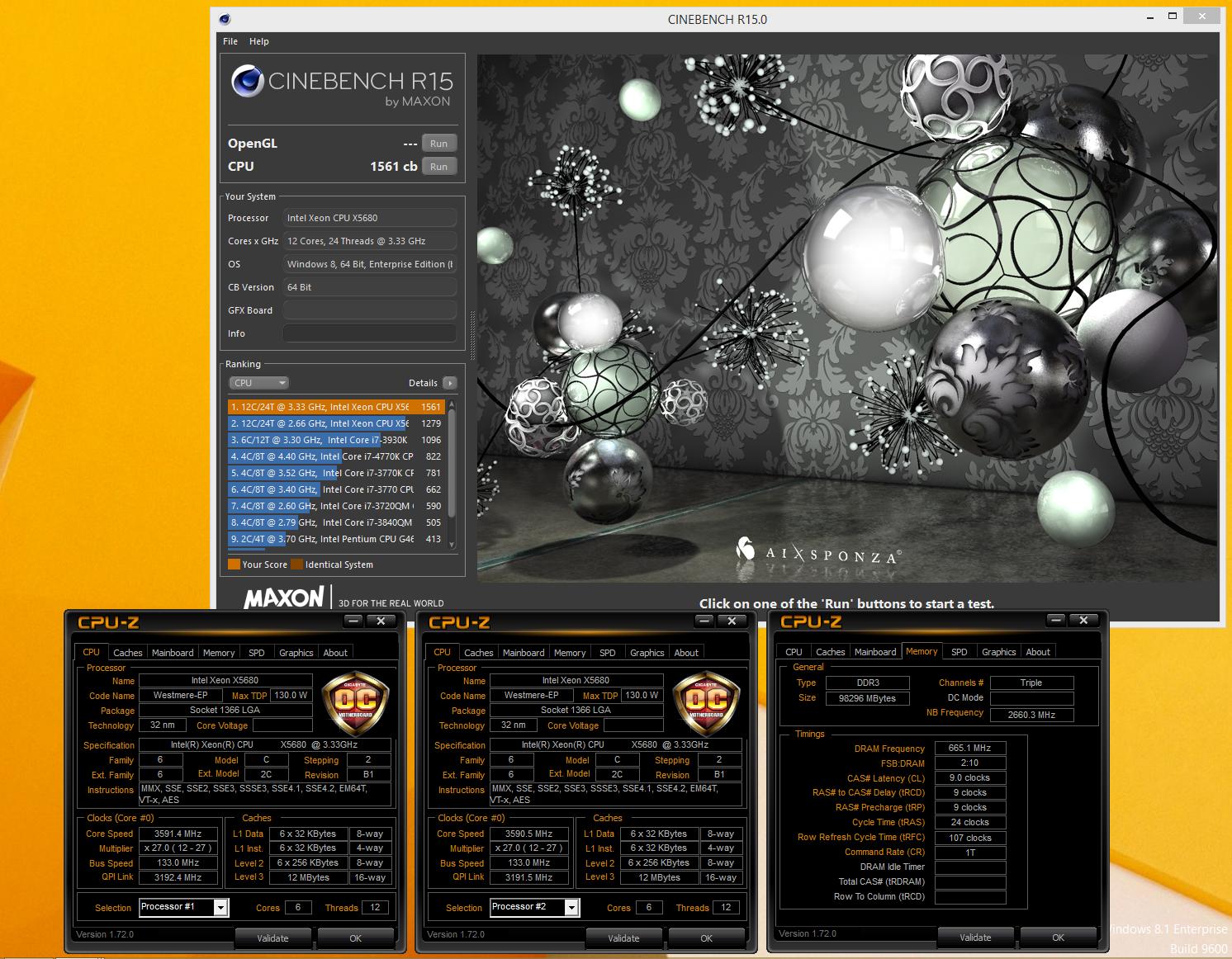 CL3P20`s Cinebench - R15 score: 1561 cb with a Xeon X5680