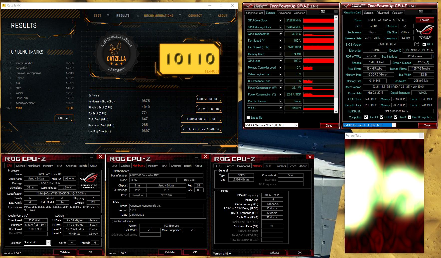 NeGaTo`s Catzilla - 1440p score: 10110 marks with a GeForce