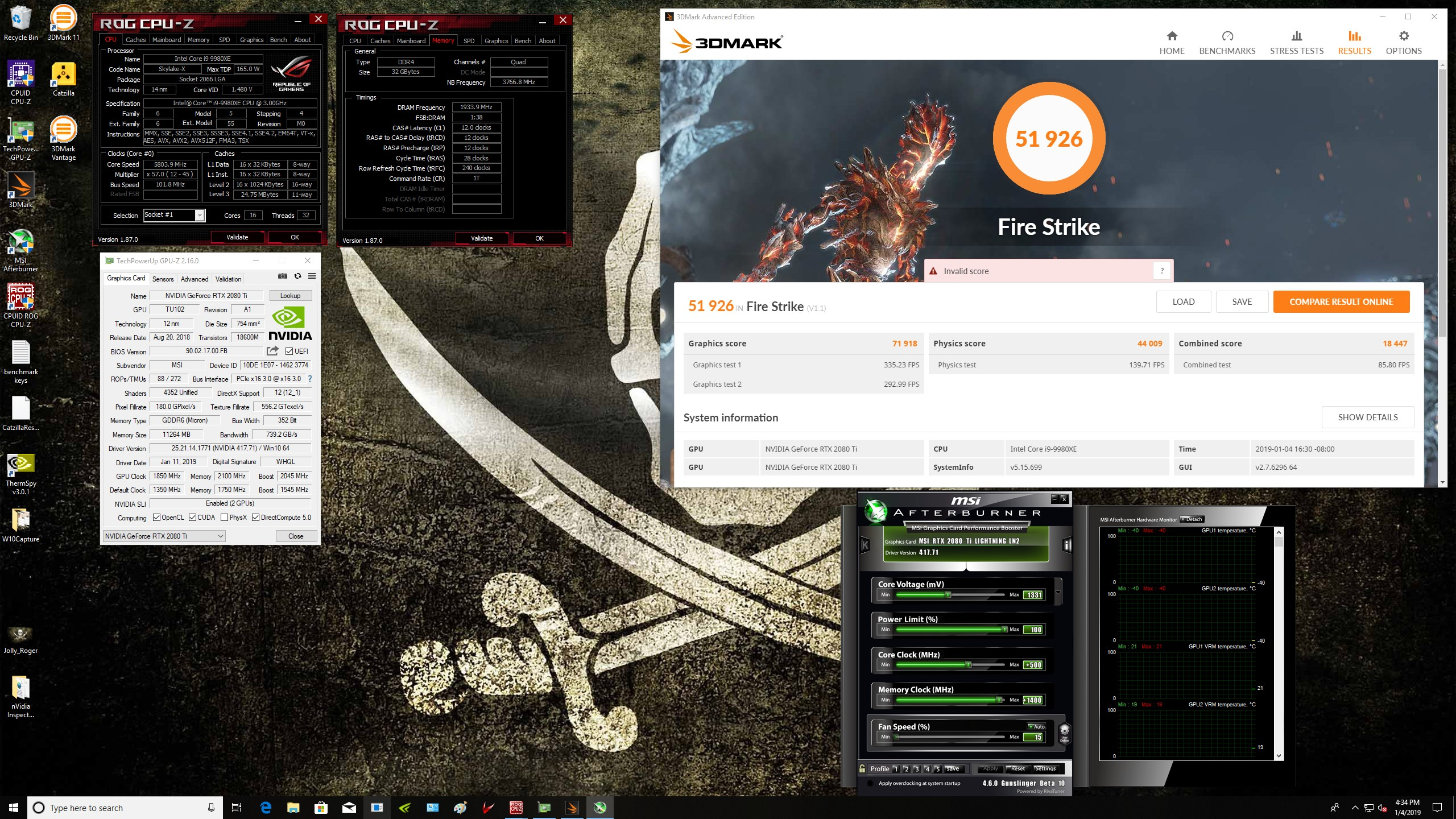 Gunslinger`s 3DMark - Fire Strike score: 51926 marks with a