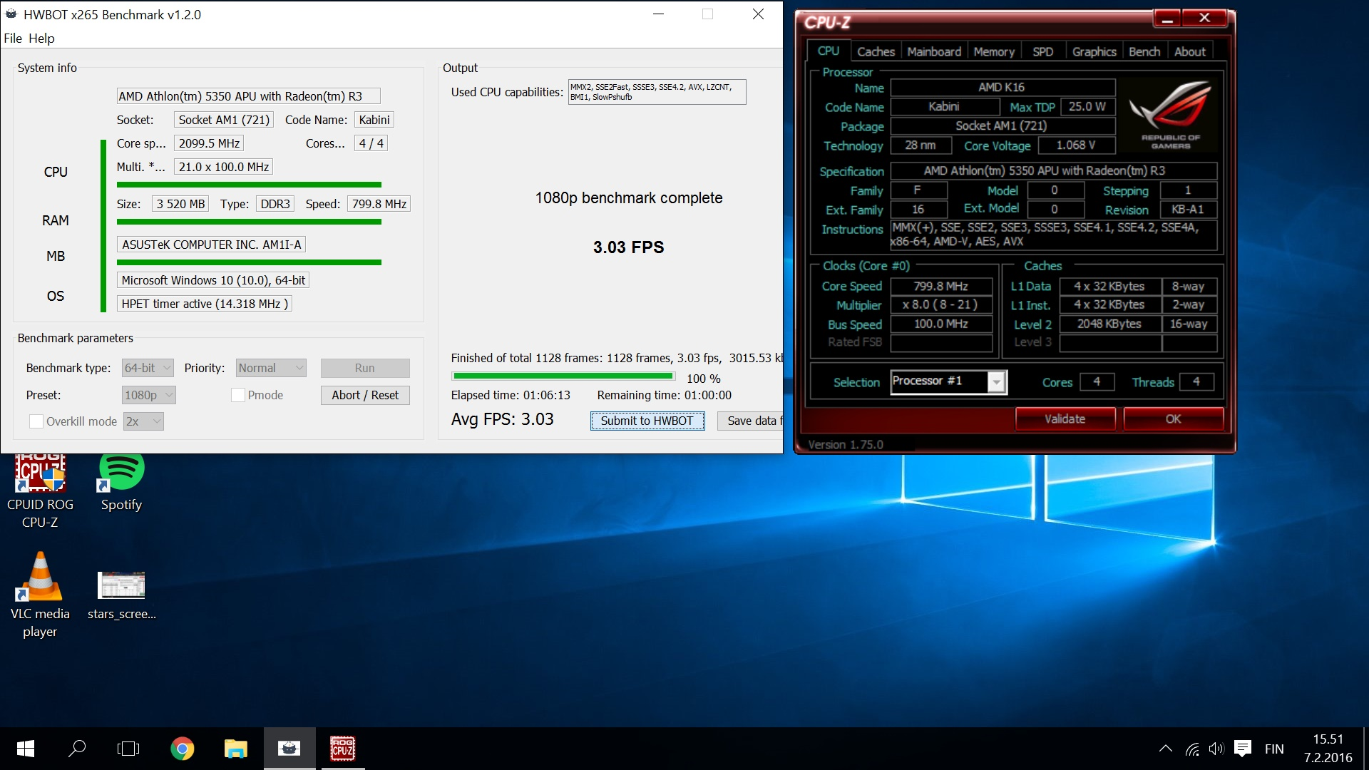 Amd Athlon 5350 With Radeon R3 infamoustr`s hwbot x265 benchmark - 1080p score: 3.03 fps