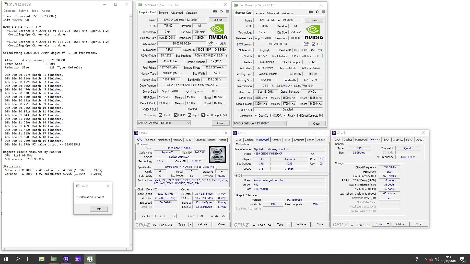 Lucky_n00b`s GPUPI - 1B score: 1sec 878ms with a GeForce RTX 2080 Ti