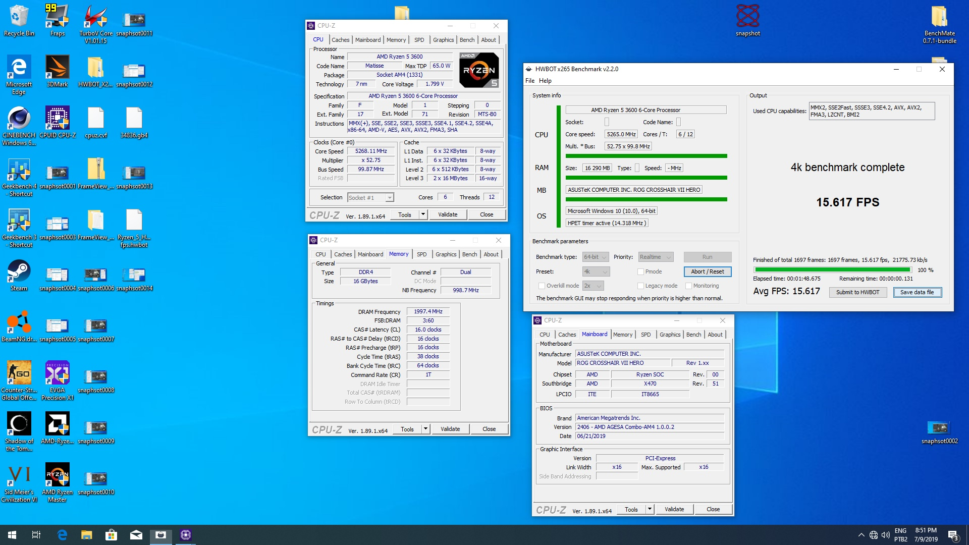 NoMS`s HWBOT x265 Benchmark - 4k score: 15 617 fps with a Ryzen 5 3600