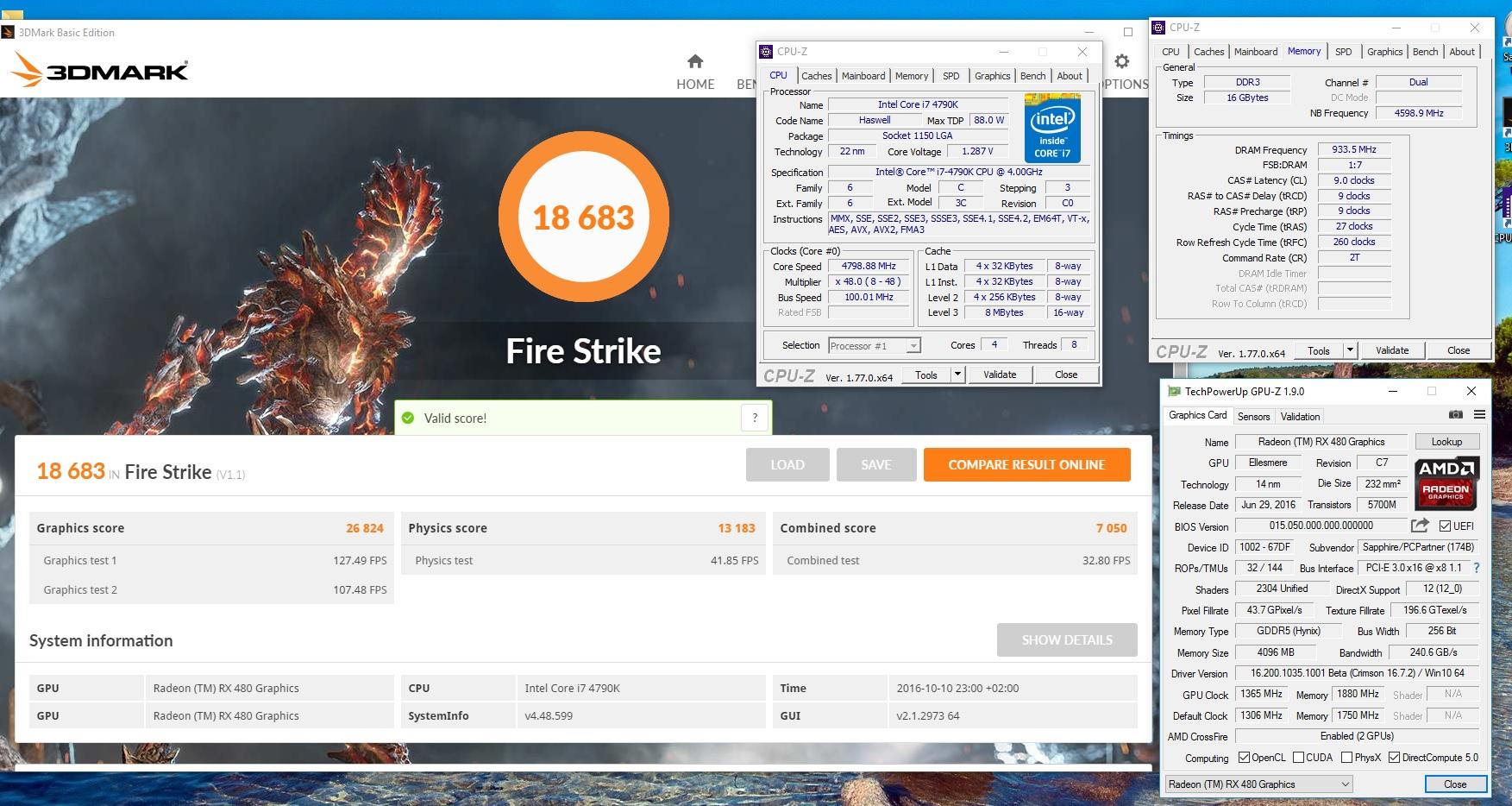 JaxxGTA`s 3DMark - Fire Strike score: 18683 marks with a Radeon RX 480