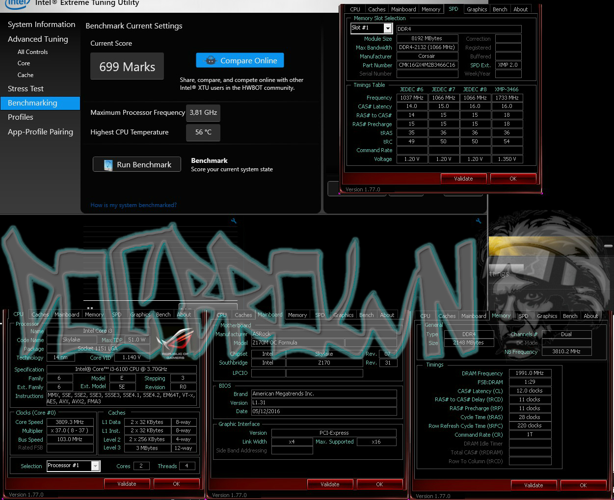Doc.Brown's 699 marks XTU run with Core i3 6100 @ 3810MHz