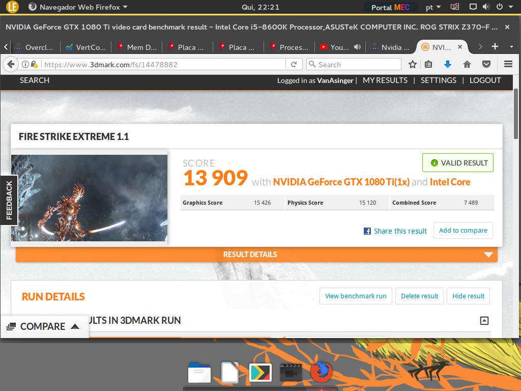 Deuz`s 3DMark - Fire Strike Extreme score: 13909 marks with