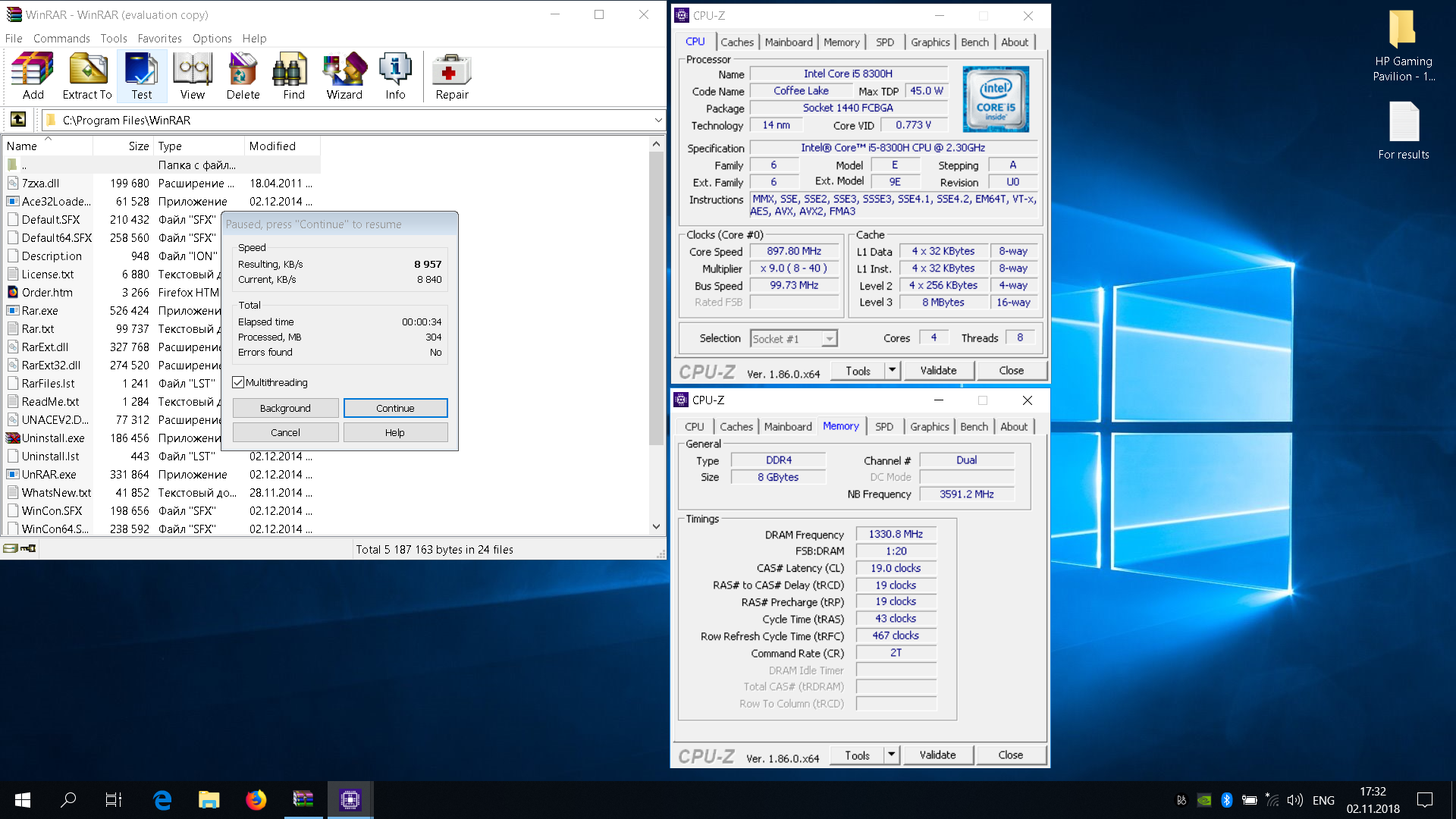 TyphooNick`s WinRAR score: 8957 KB/s with a Core i5 8300H