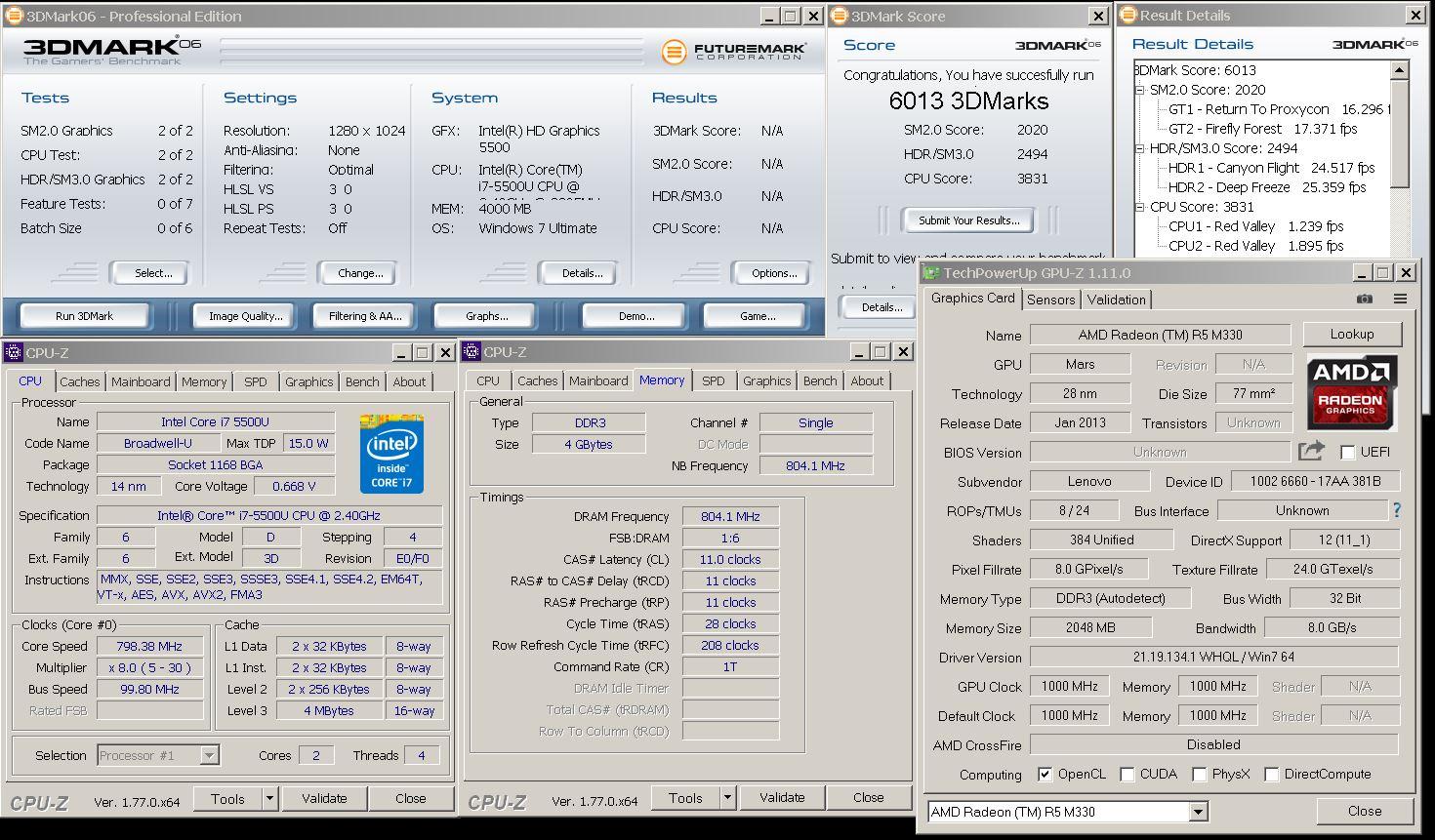 stivut`s 3DMark06 score: 6013 marks with a Radeon R5 M330