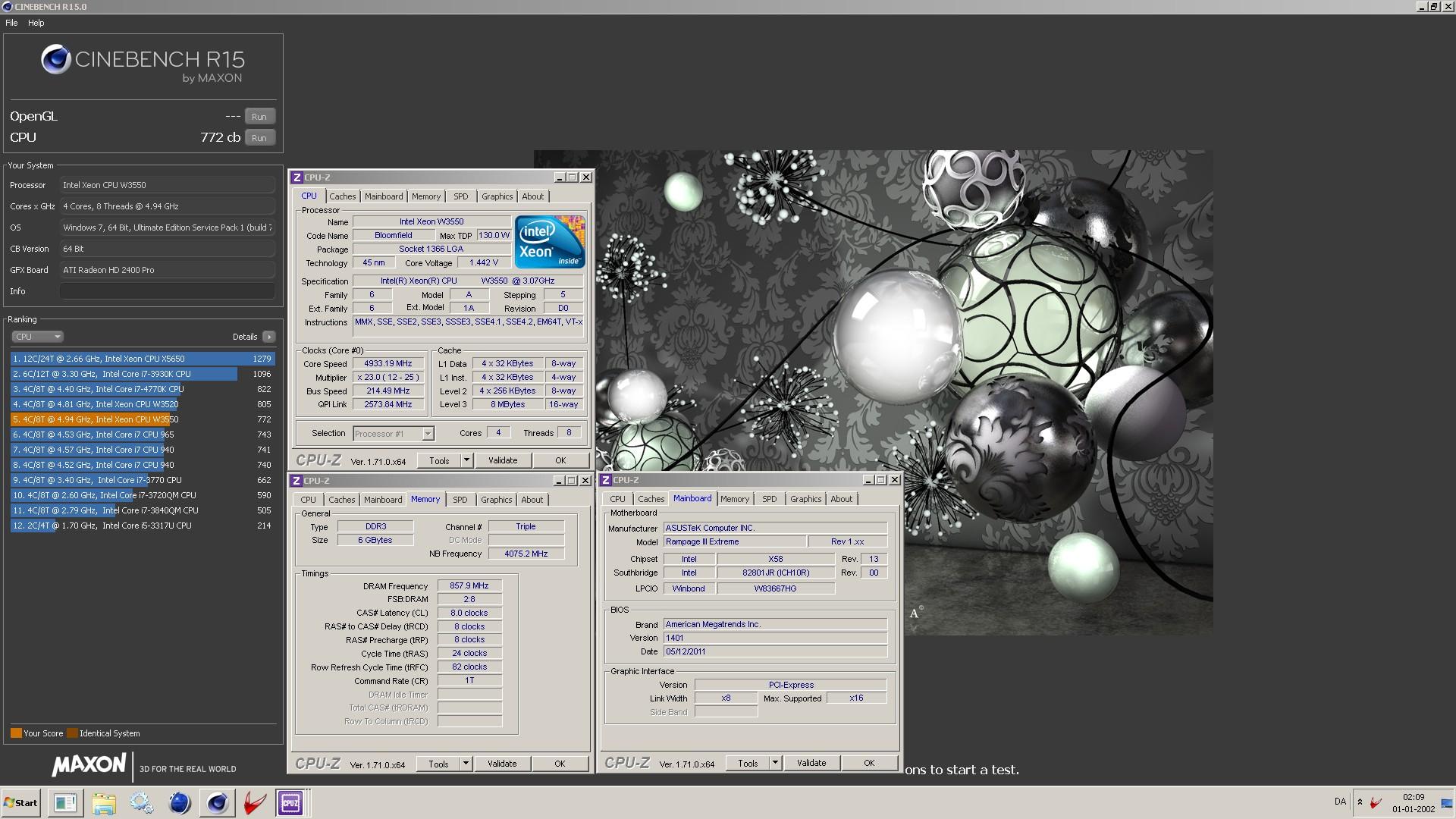 T Rex`s Cinebench - R15 score: 772 cb with a Xeon W3550