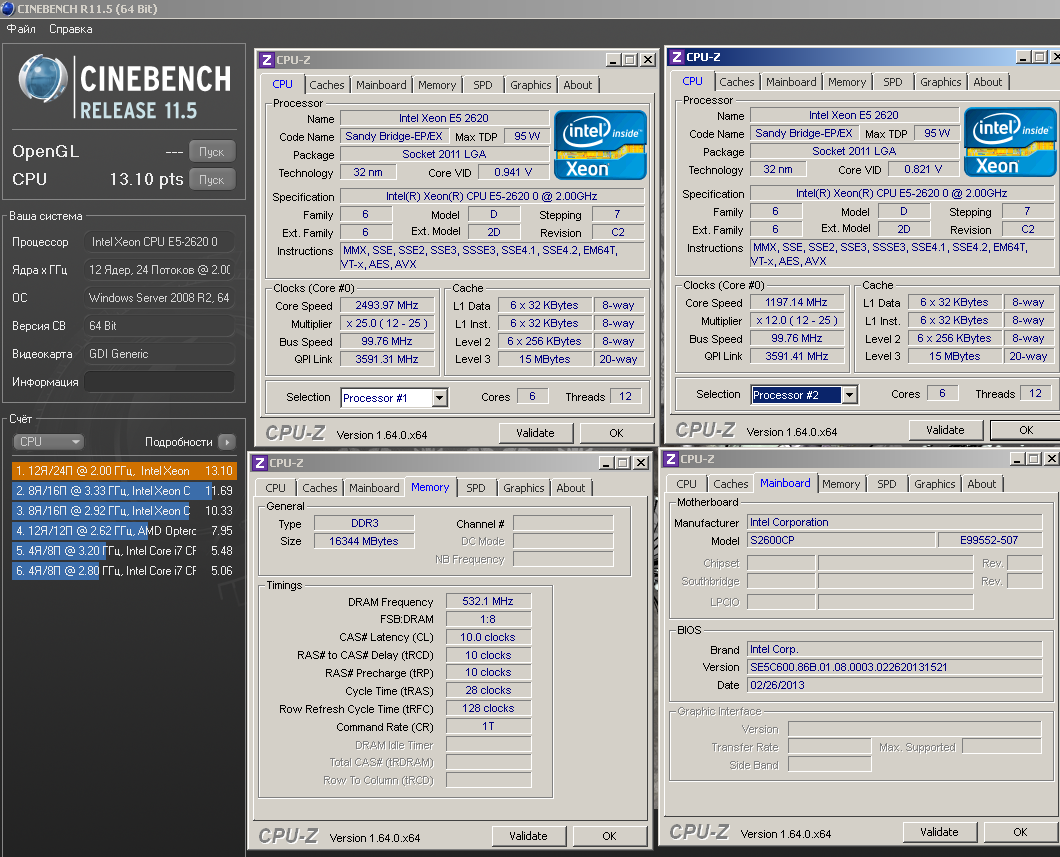 ZFeSS`s Cinebench - R11 5 score: 13 1 points with a Xeon E5 2620