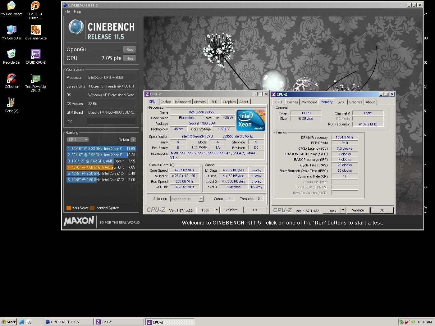 Aleslammer`s Cinebench - R11 5 score: 7 85 points with a