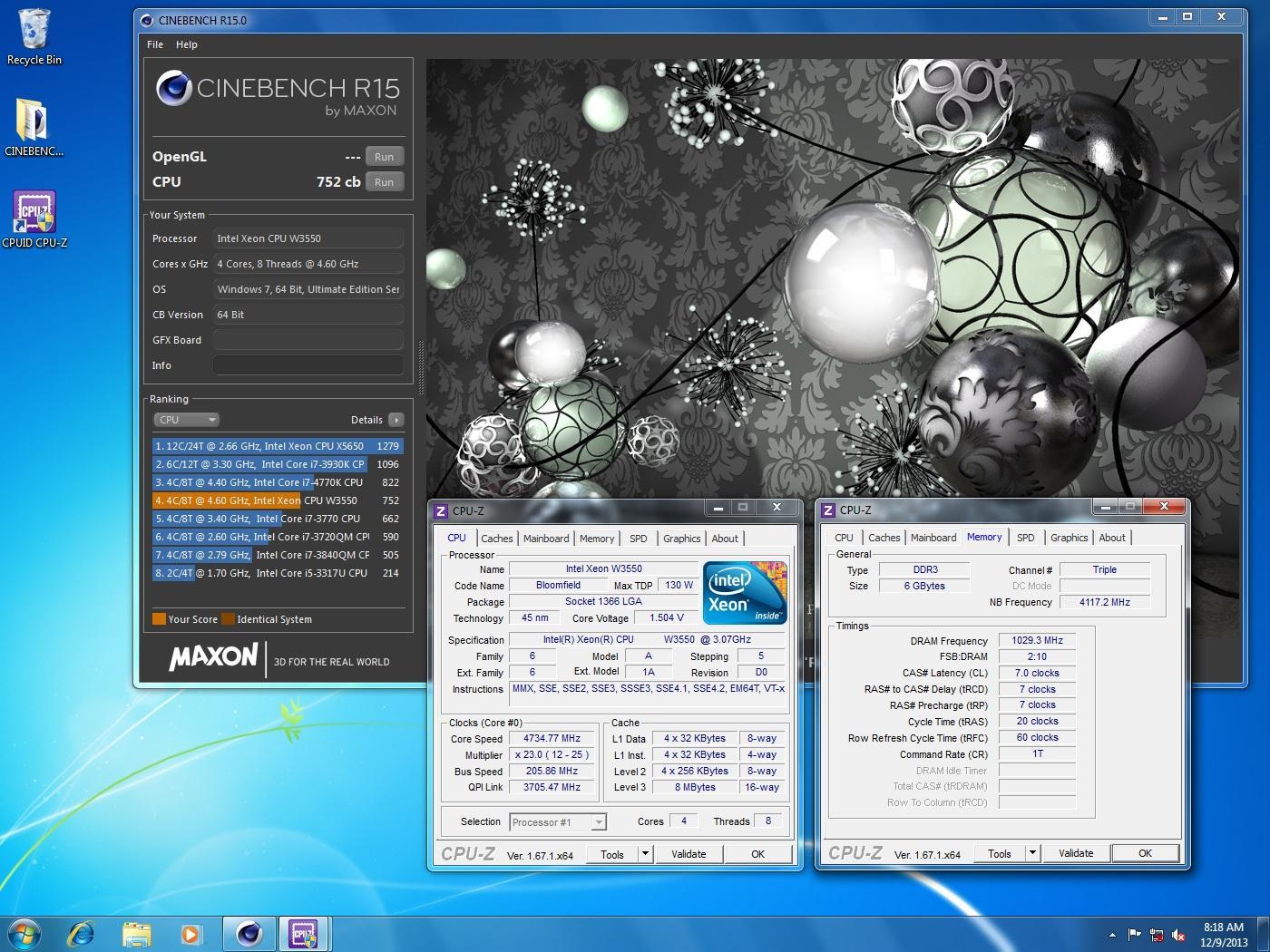 Aleslammer`s Cinebench - R15 score: 752 cb with a Xeon W3550