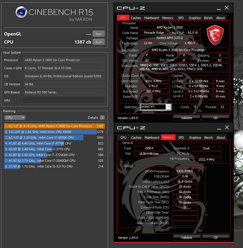 L0w Budg3t`s Cinebench - R15 score: 1387 cb with a Ryzen 5 2600