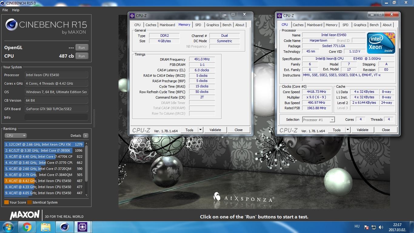 mong00se`s Cinebench - R15 score: 487 cb with a Xeon E5450