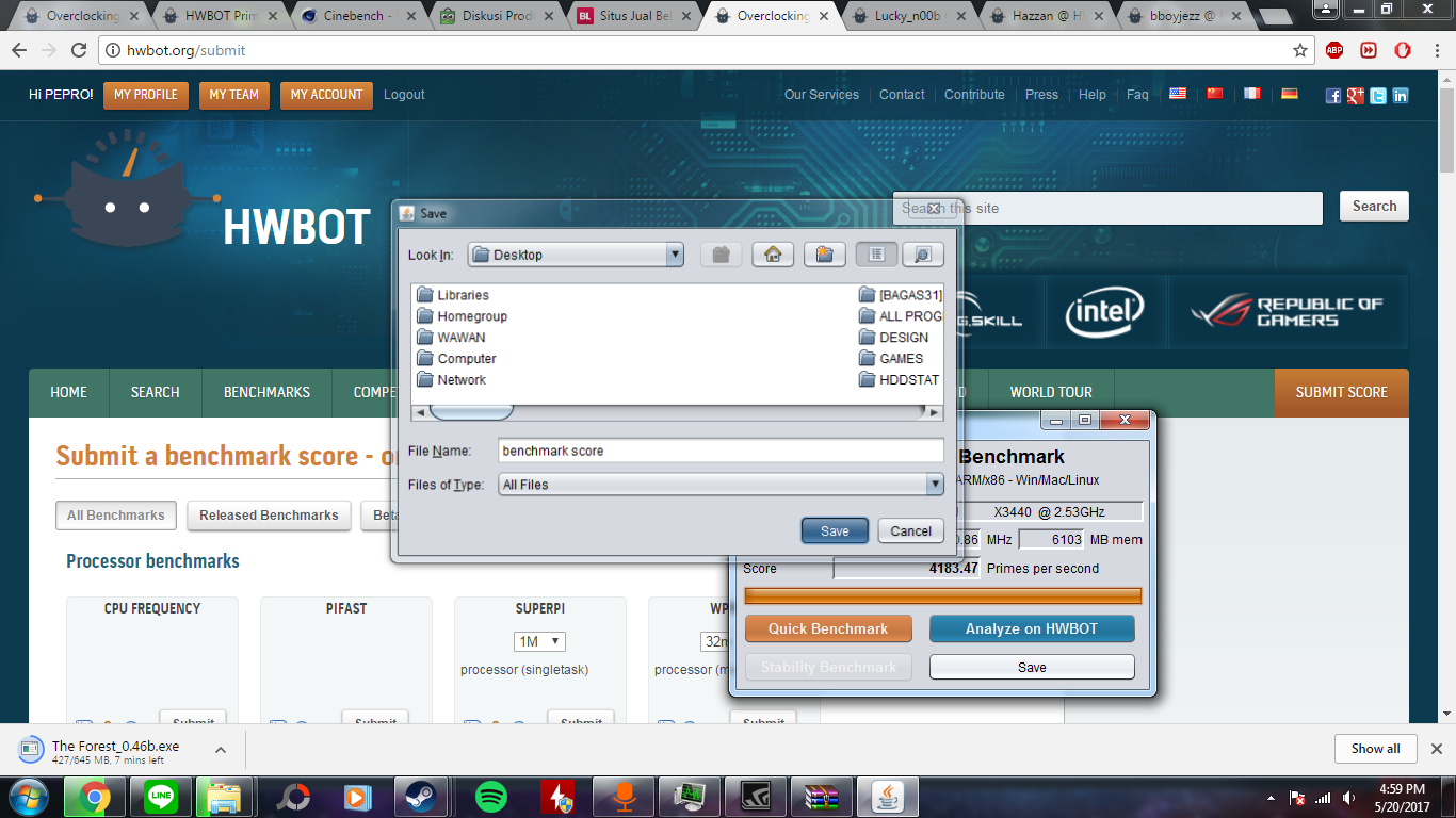 PEPRO`s HWBOT Prime score: 4183 47 pps with a Xeon X3440