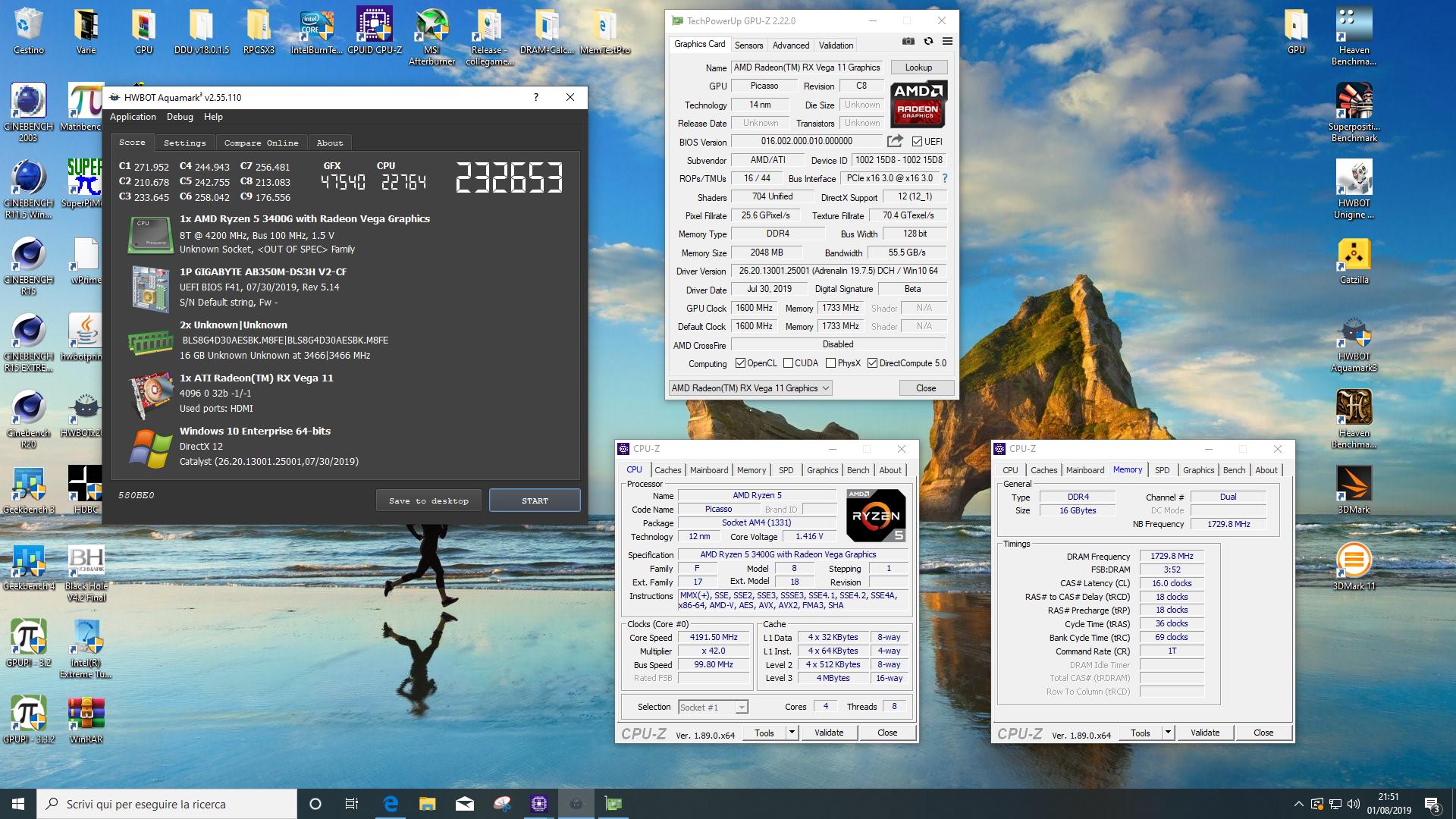 Ranieri92 S Aquamark Score 232653 Marks With A Radeon Rx Vega 11 Graphics Picasso