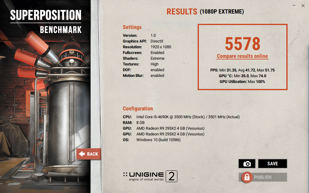 PurpuraSolani`s Unigine Superposition - 1080P Xtreme score: 5578