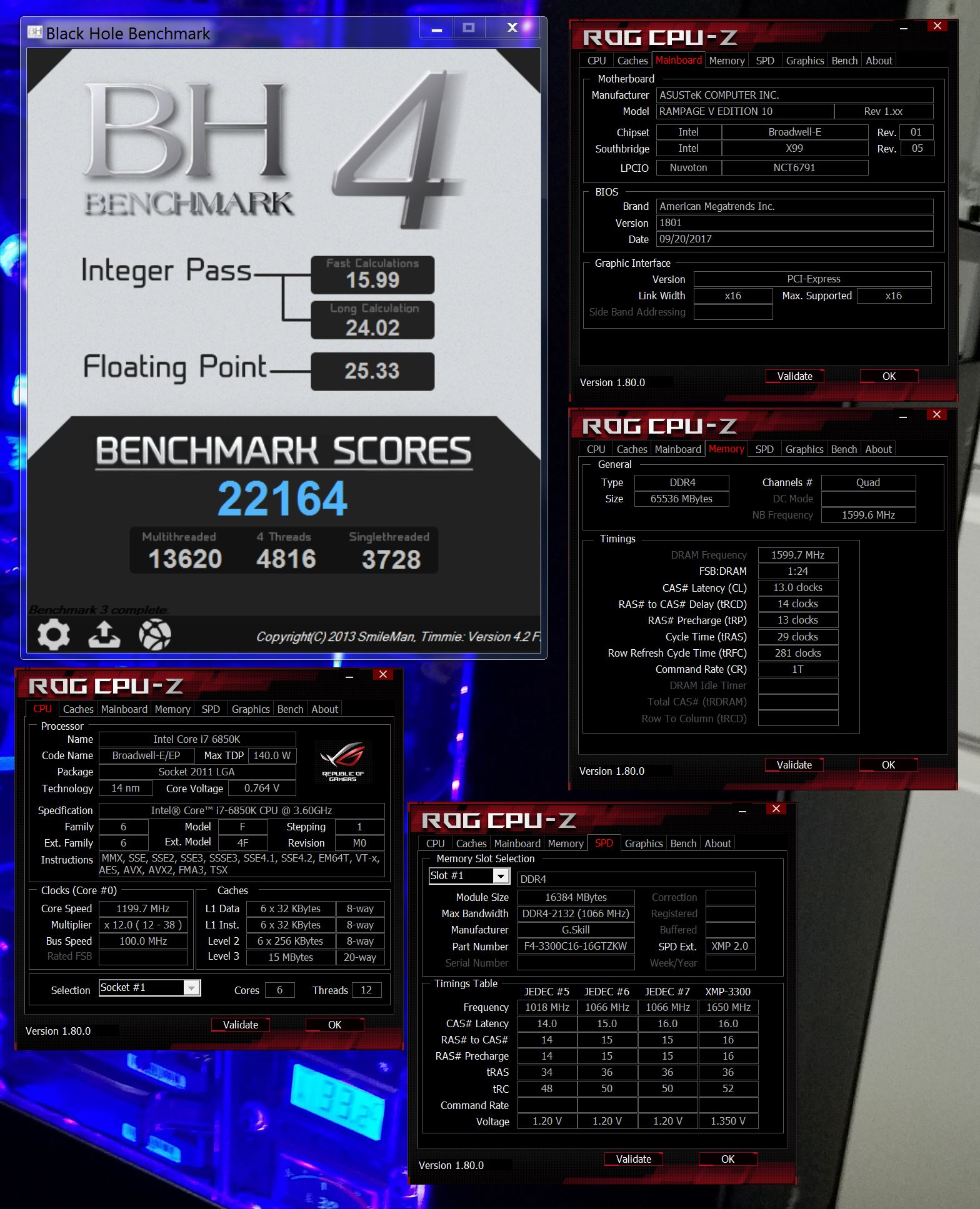 JMTH`s Black Hole Benchmark score: 22164 marks with a Core i7 6850K