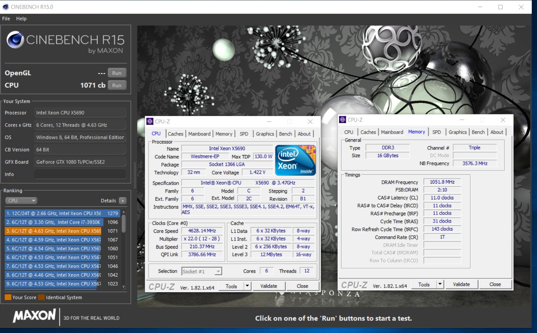 radaxian`s Cinebench - R15 score: 1071 cb with a Xeon X5690