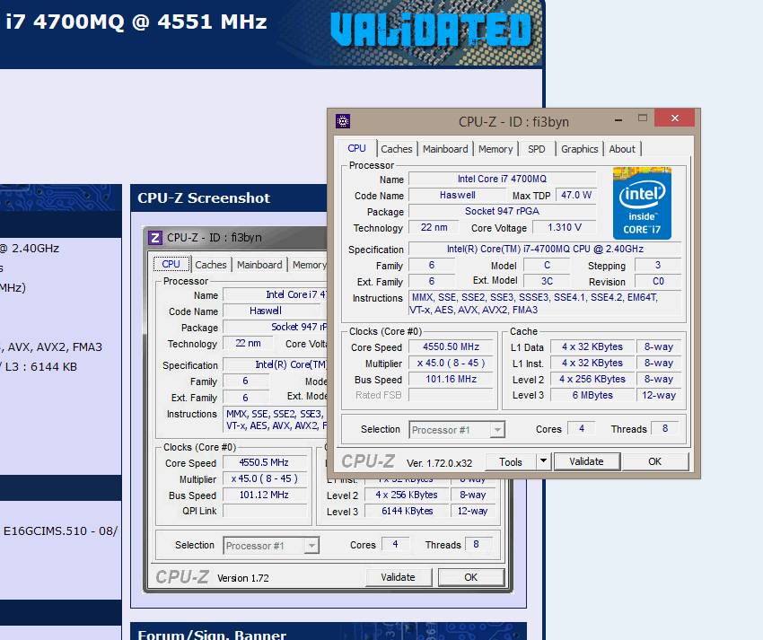 0 0`s CPU Frequency score: 4550 mhz with a Core i7 4700MQ