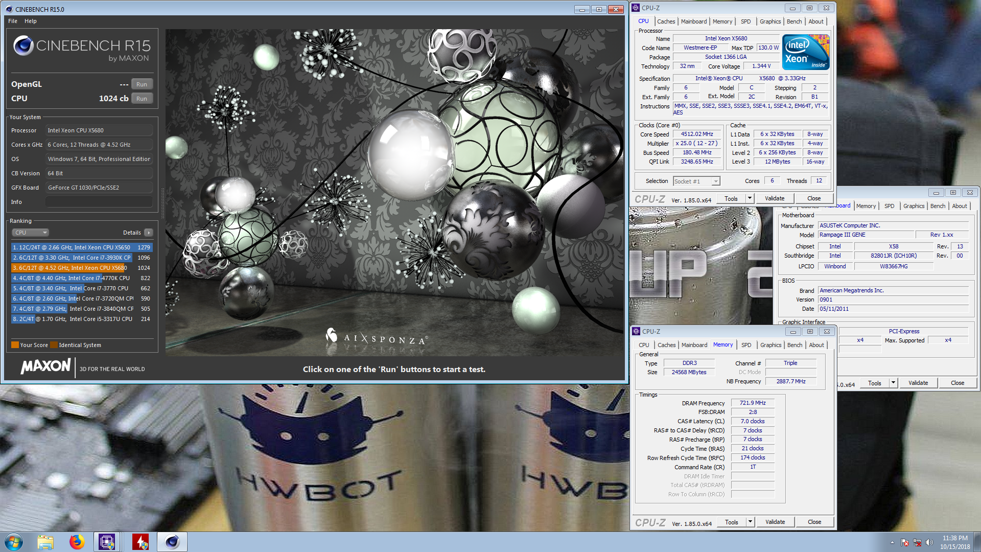 yee245`s Cinebench - R15 score: 1024 cb with a Xeon X5680