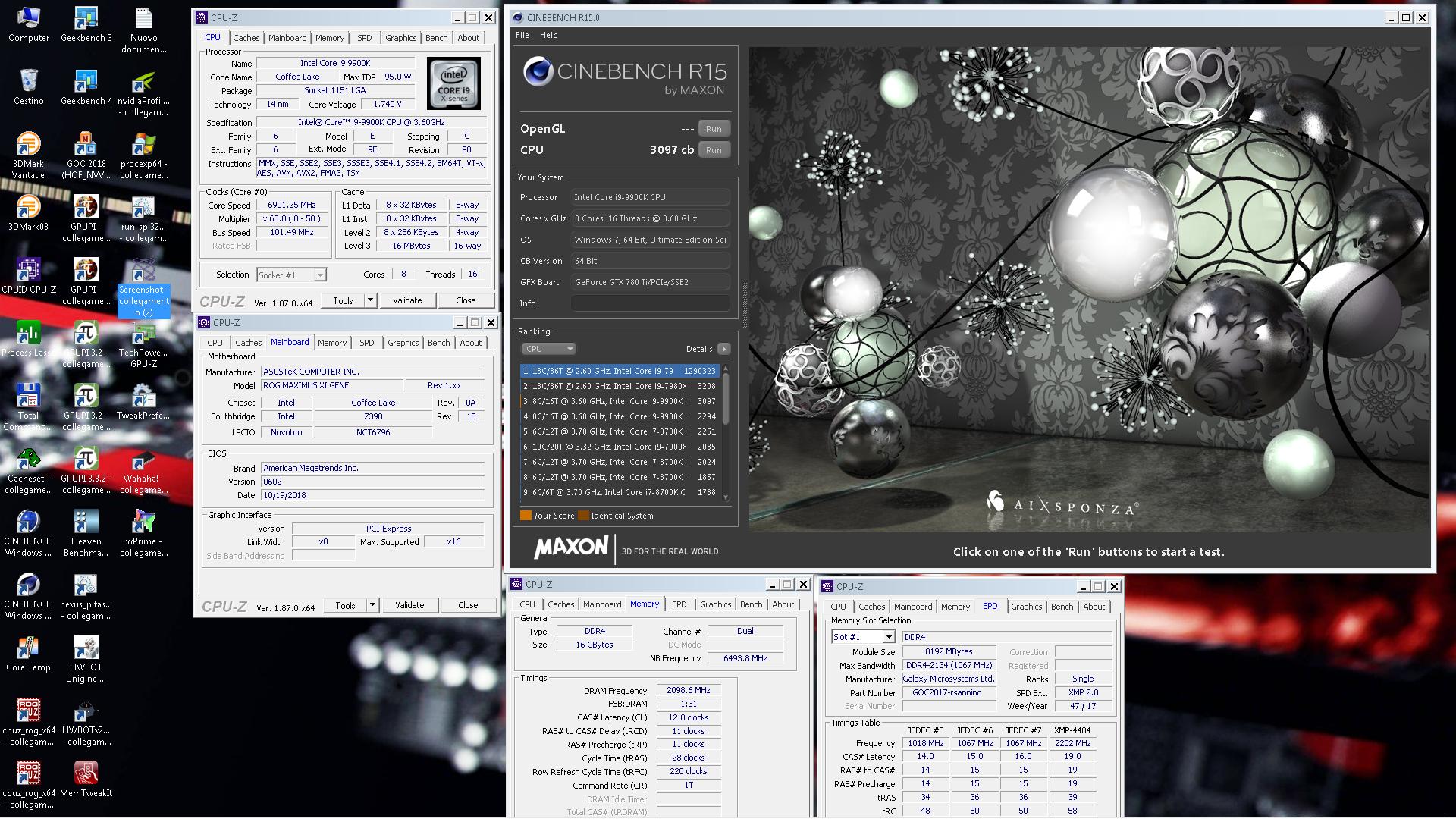 rsannino`s Cinebench - R15 score: 3097 cb with a Core i9 9900K