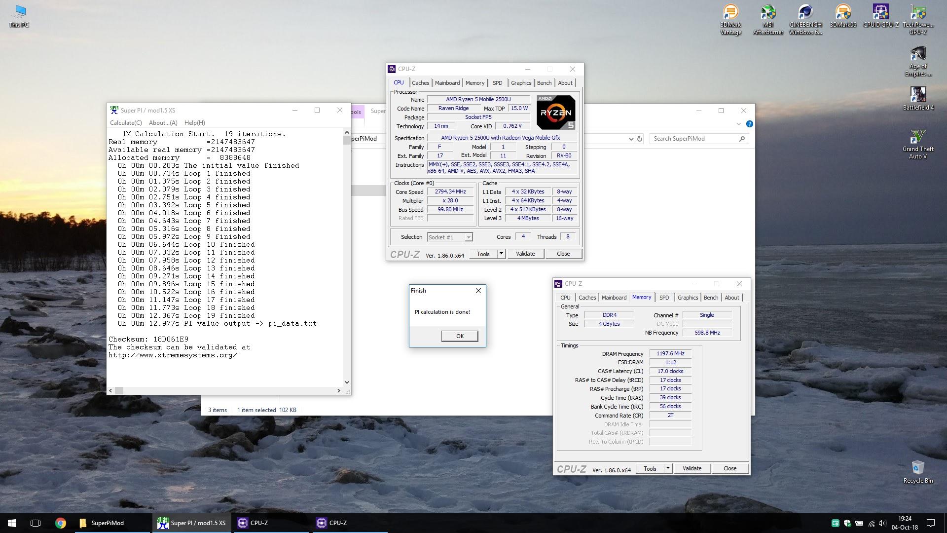 Vino85`s SuperPi - 1M score: 12sec 320ms with a Ryzen 5 2500U