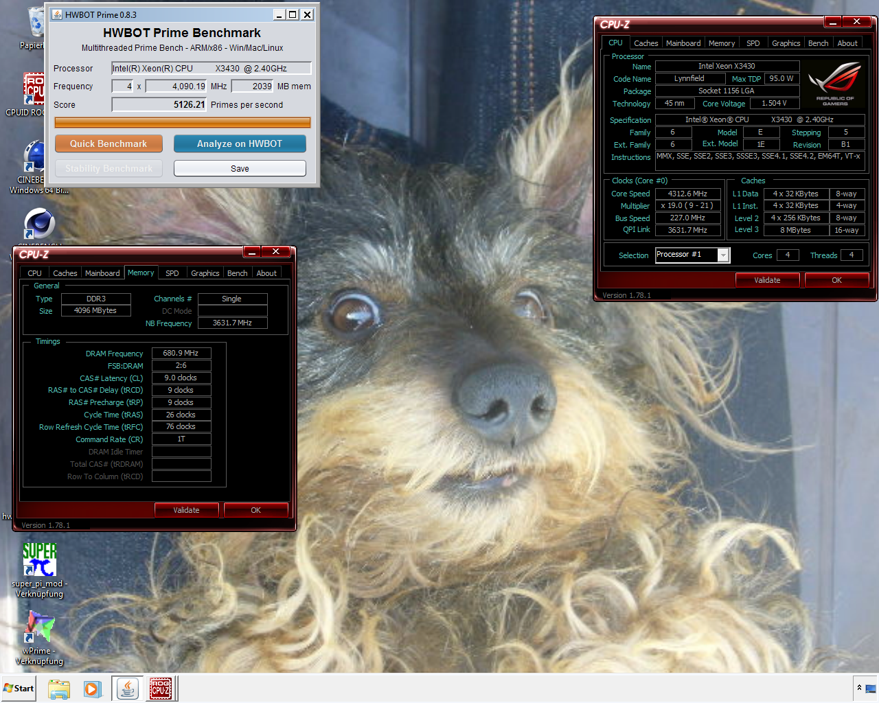 UE50`s HWBOT Prime score: 5126 21 pps with a Xeon X3430