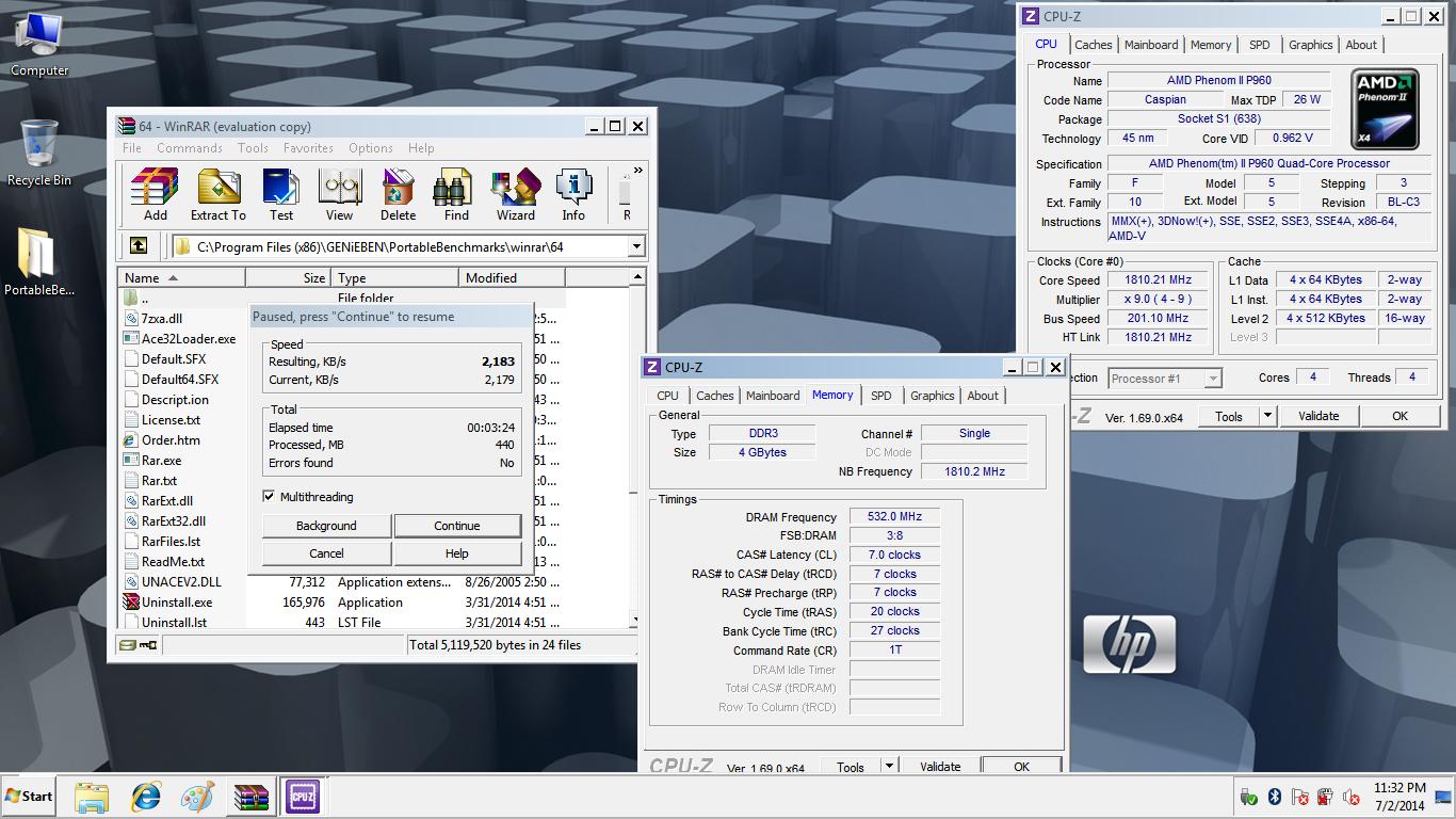GENiEBEN`s WinRAR score: 2183 KB/s with a Phenom II P960
