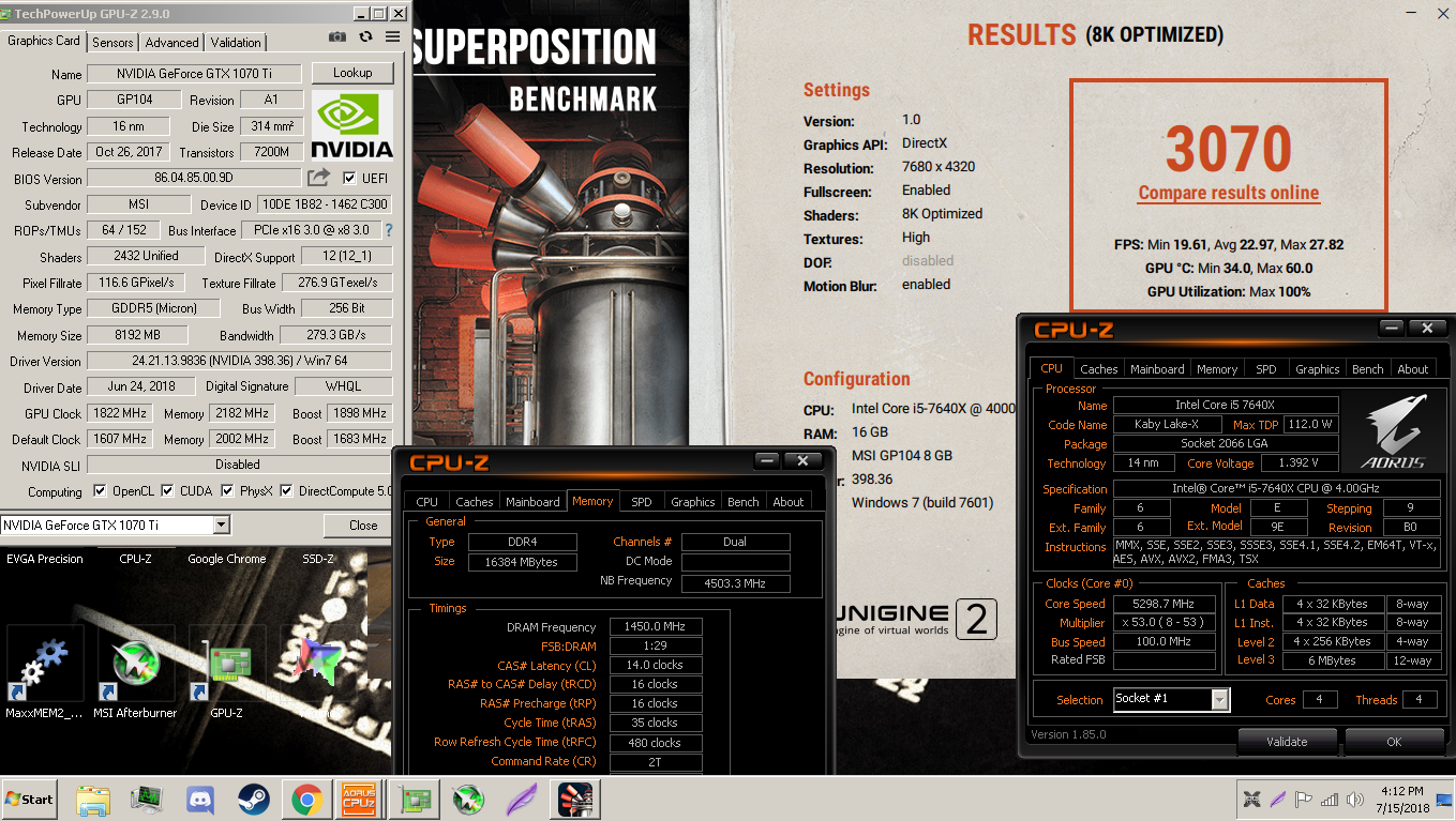 LewdLila`s Unigine Superposition - 8K Optimized score: 3070 Points