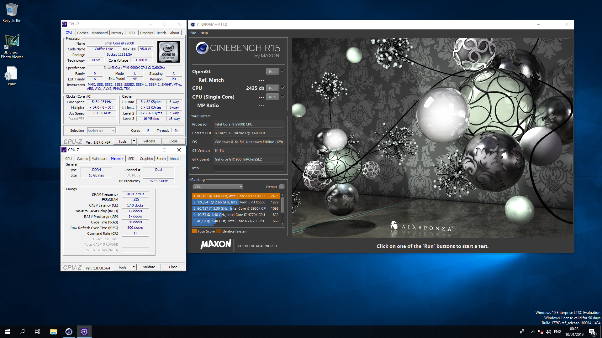 Ratiofarming`s Cinebench - R15 score: 2425 cb with a Core i9