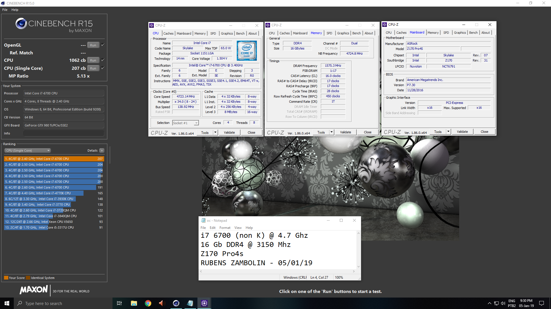 Unique_Ruh`s Cinebench - R15 score: 1062 cb with a Core i7 6700