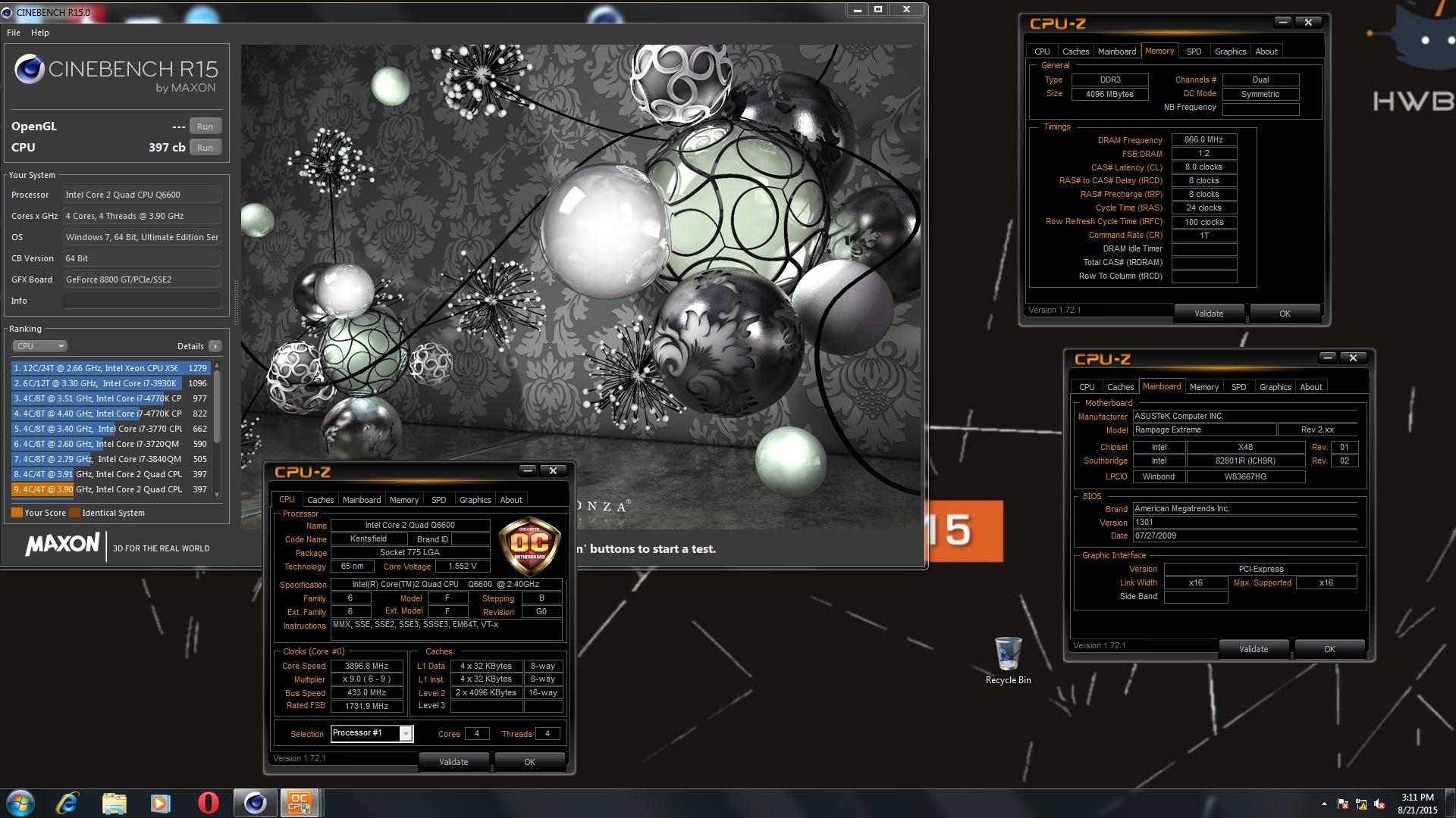 Bog Xdans Cinebench R15 Score 397 Cb With A Core 2 Quad Q6600 Intel