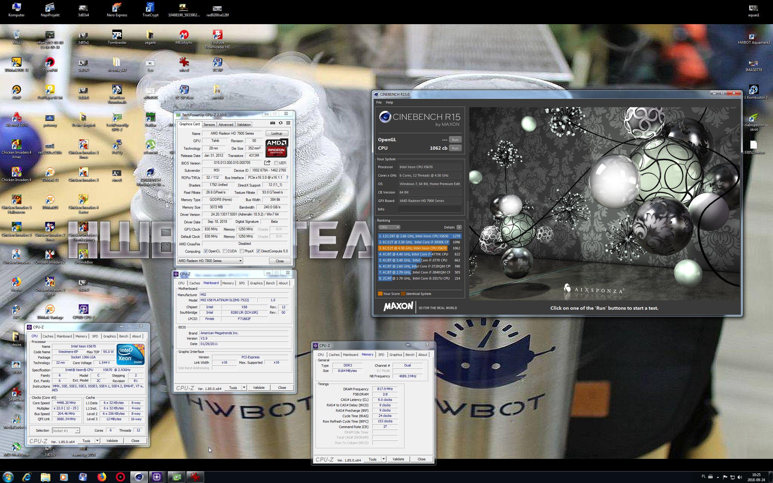 wojtan84`s Cinebench - R15 score: 1062 cb with a Xeon X5670