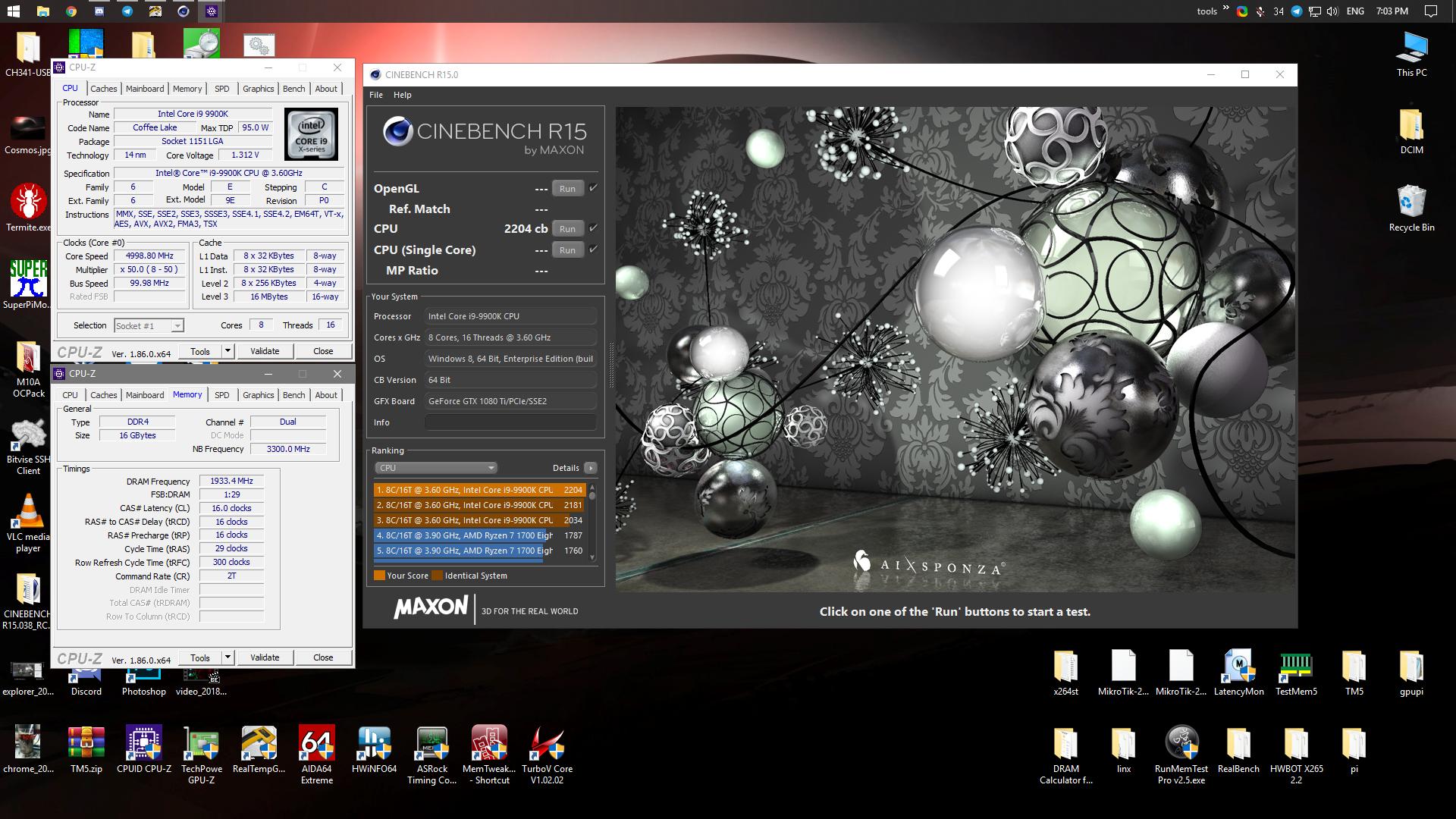 paladzin`s Cinebench - R15 score: 2204 cb with a Core i9 9900K