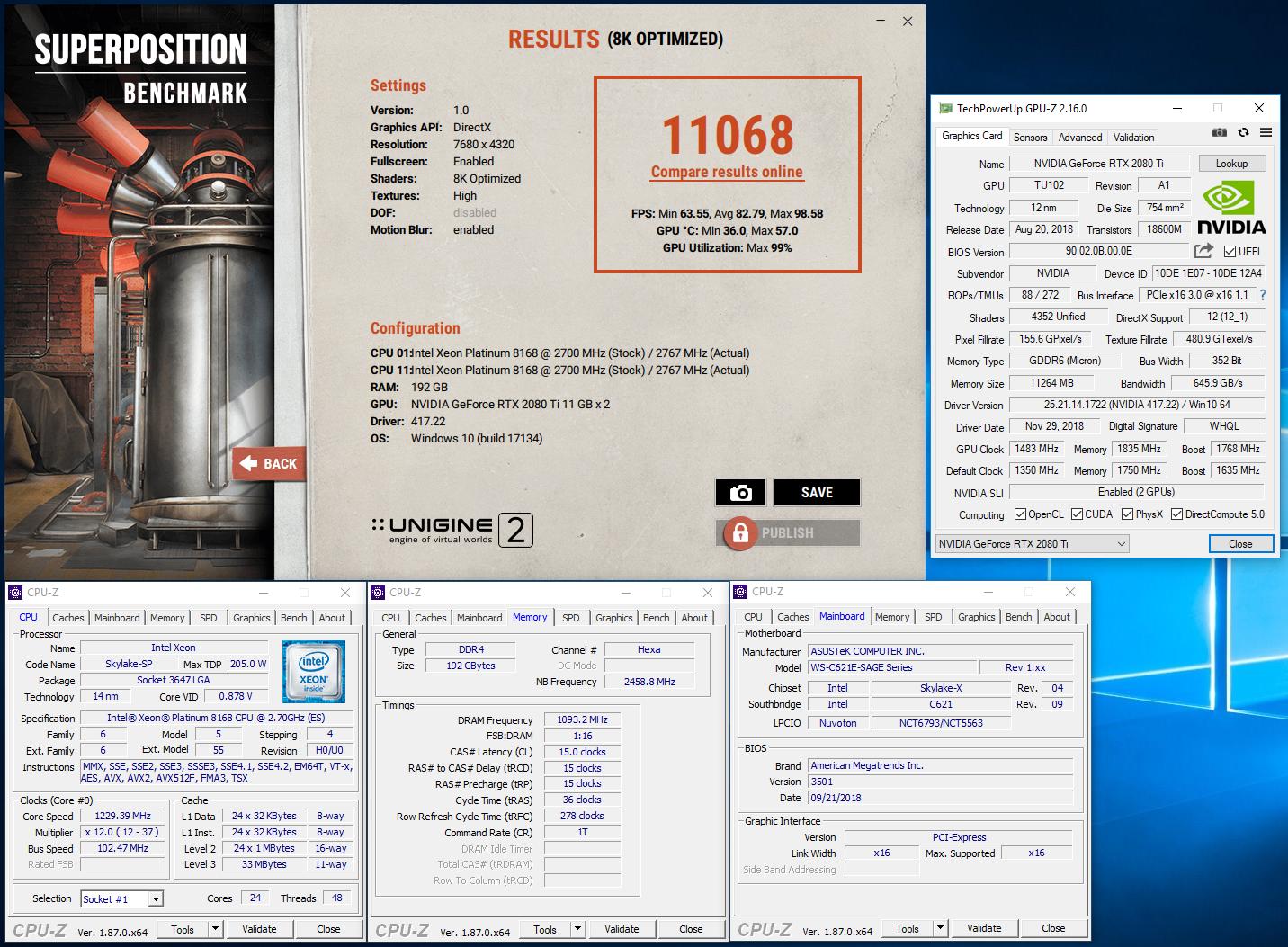 kizune`s Unigine Superposition - 8K Optimized score: 11068 Points