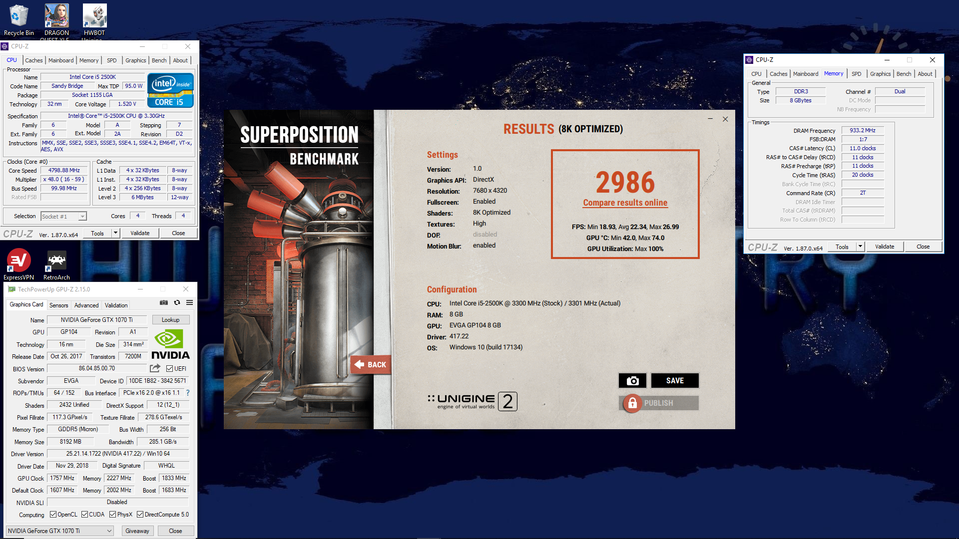 SupraFTW`s Unigine Superposition - 8K Optimized score: 2986