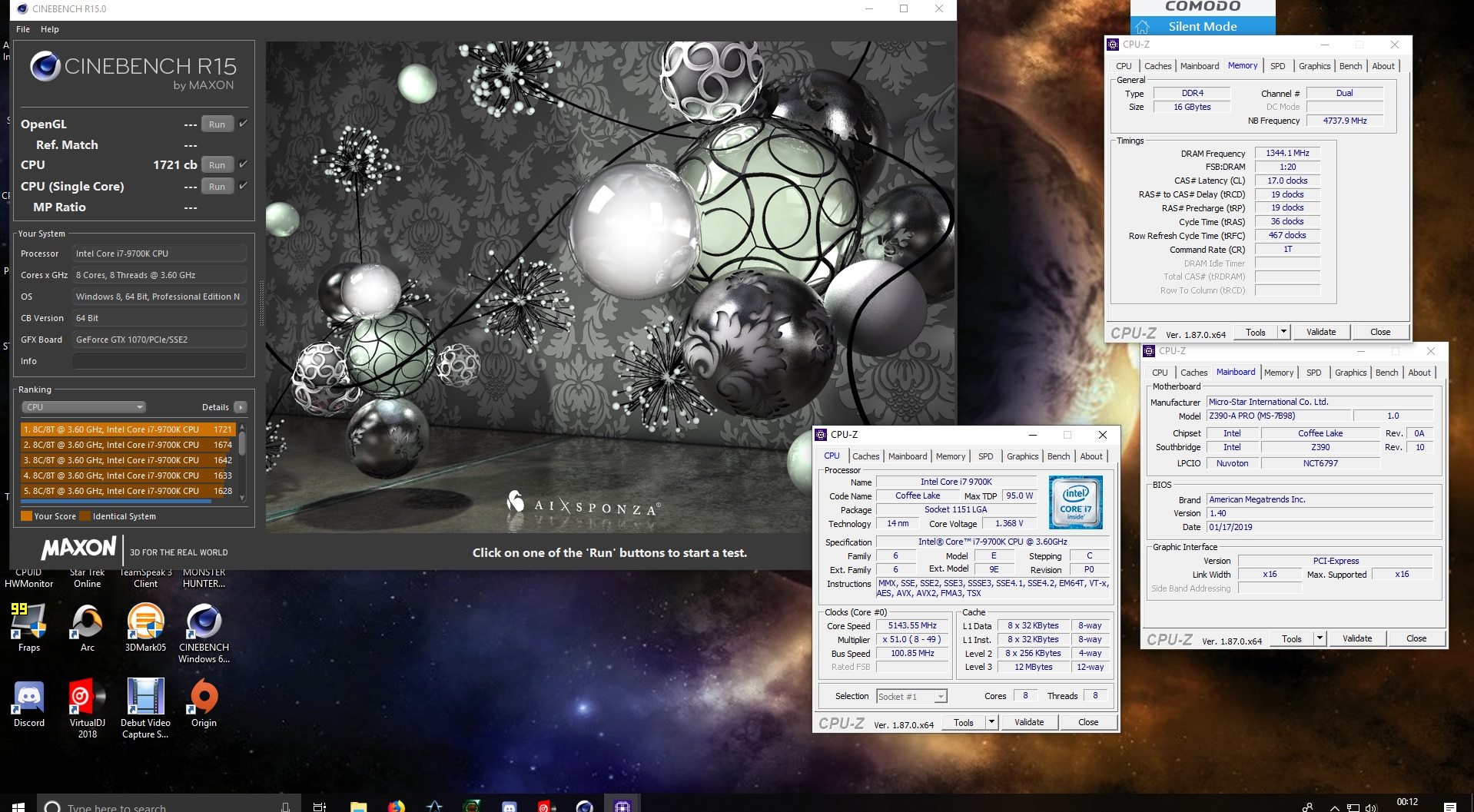 setras`s Cinebench - R15 score: 1721 cb with a Core i7 9700K