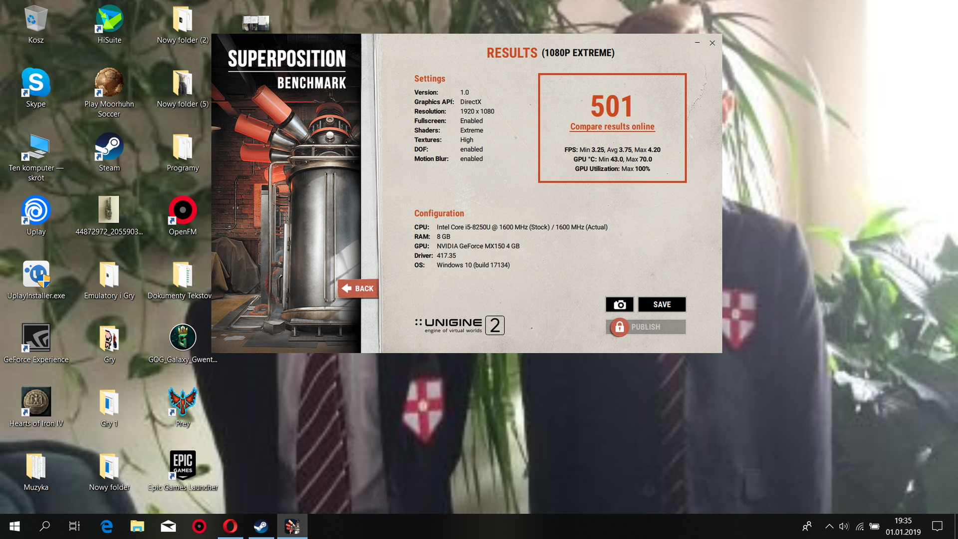 luki_1119`s Unigine Superposition - 1080P Xtreme score: 501