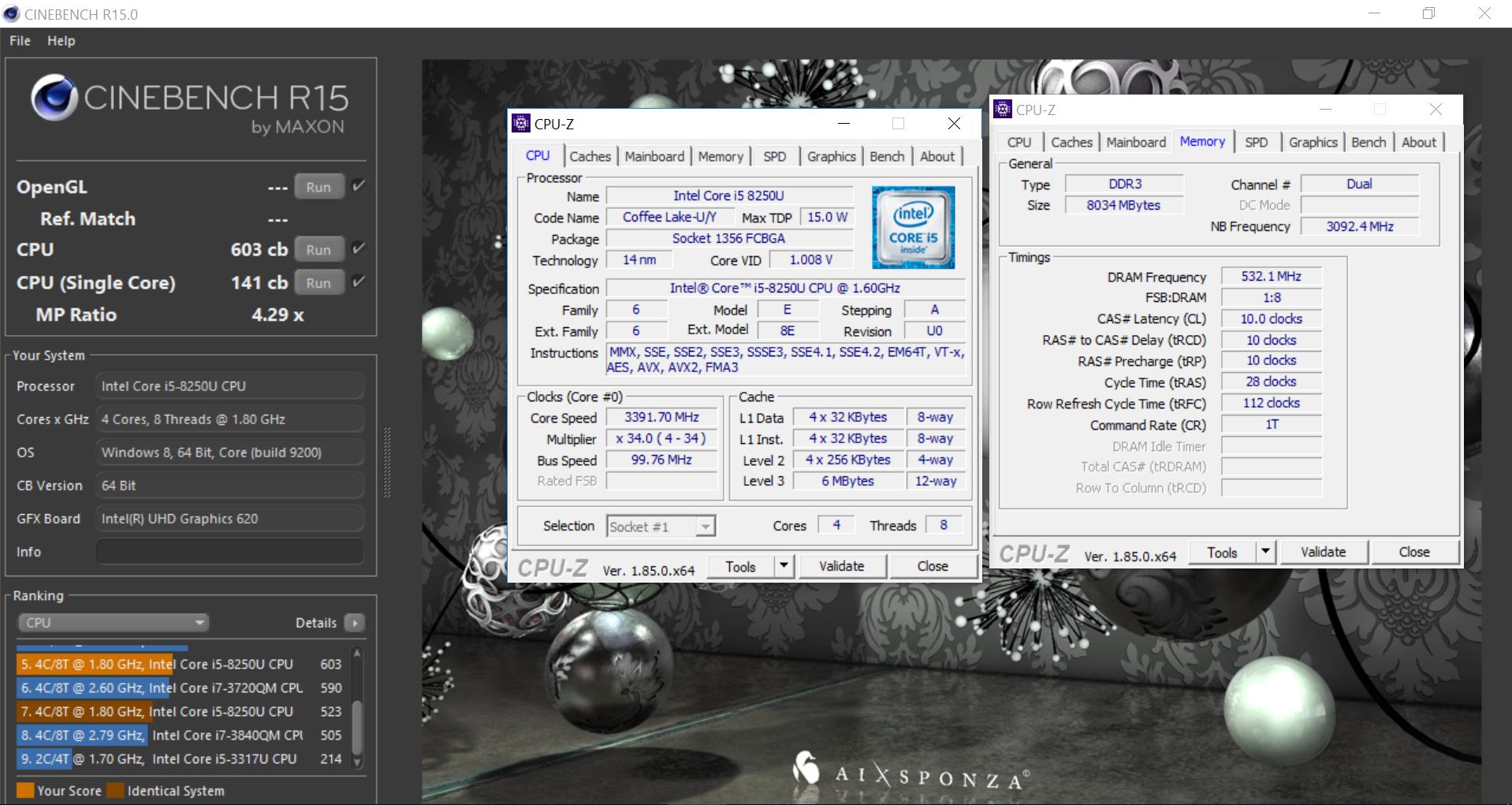 Maisi`s Cinebench - R15 score: 603 cb with a Core i5 8250U