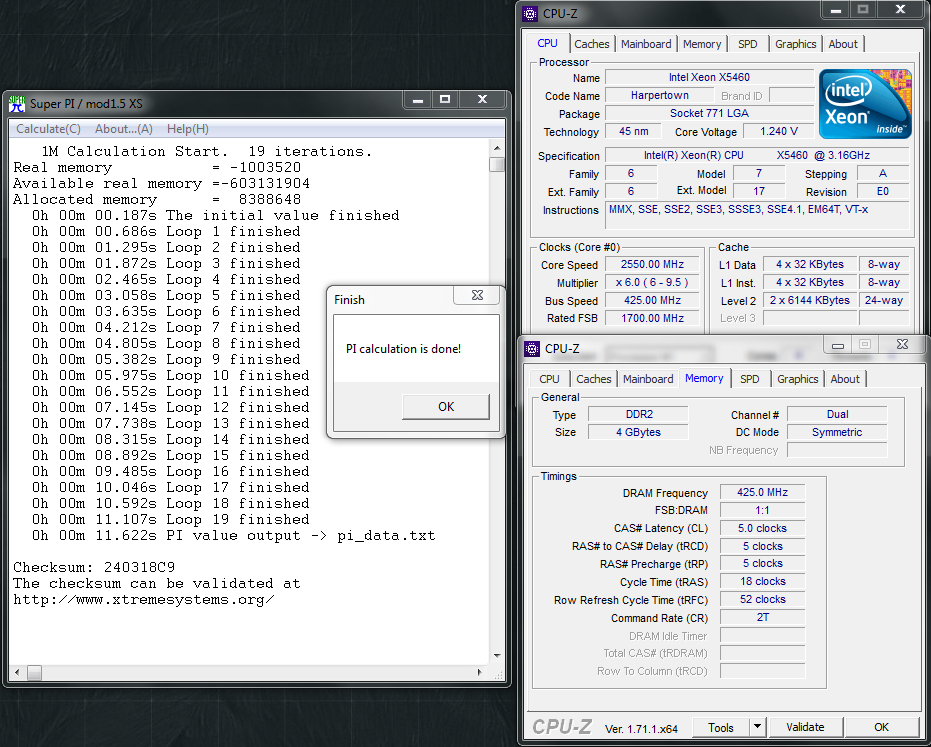 patro16`s SuperPi - 1M score: 11sec 622ms with a Xeon X5460