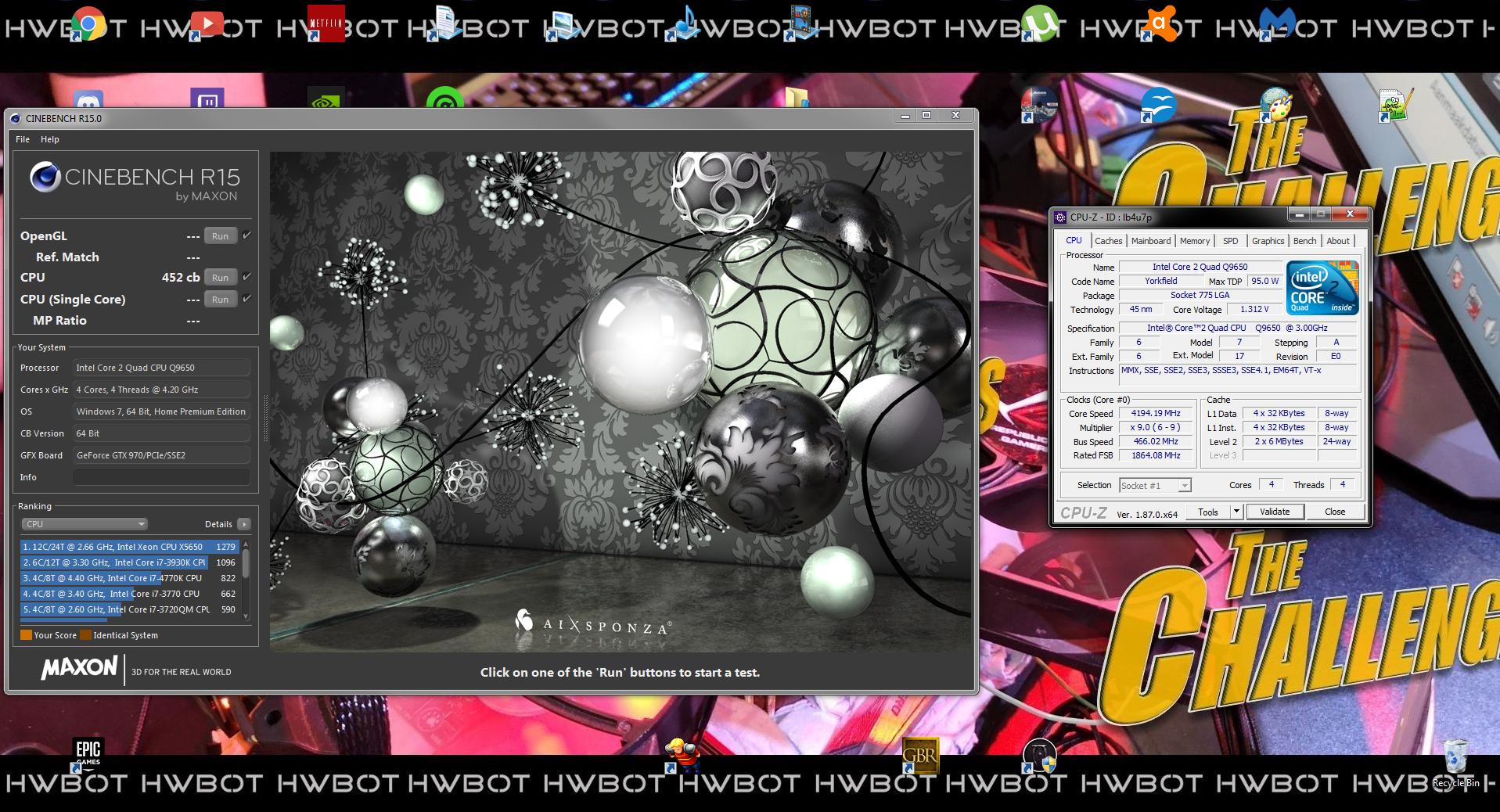 Enaversu`s Cinebench - R15 score: 452 cb with a Core 2 Quad