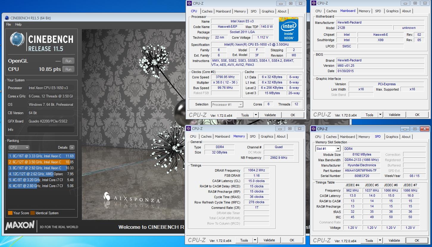 HobieCat`s Cinebench - R11 5 score: 10 85 points with a Xeon