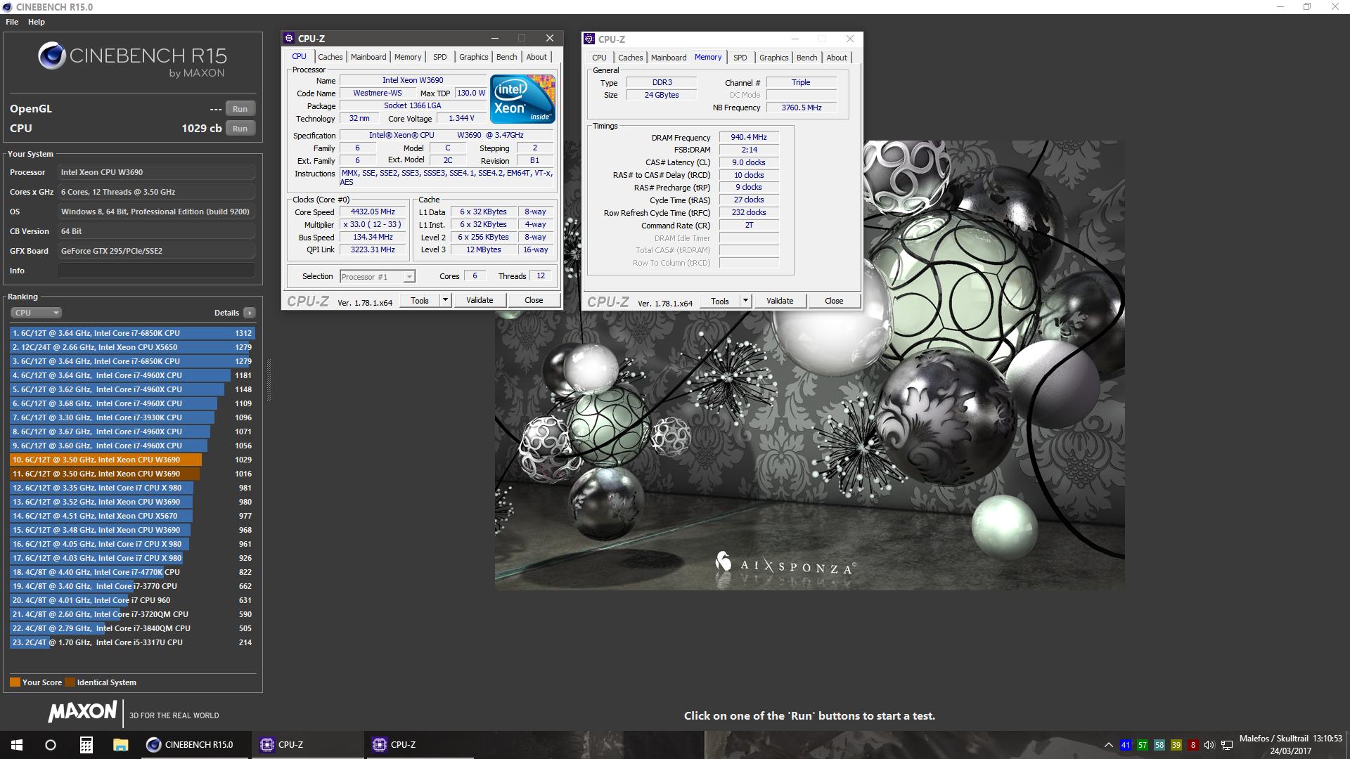 Skulltrail_BR`s Cinebench - R15 score: 1029 cb with a Xeon W3690