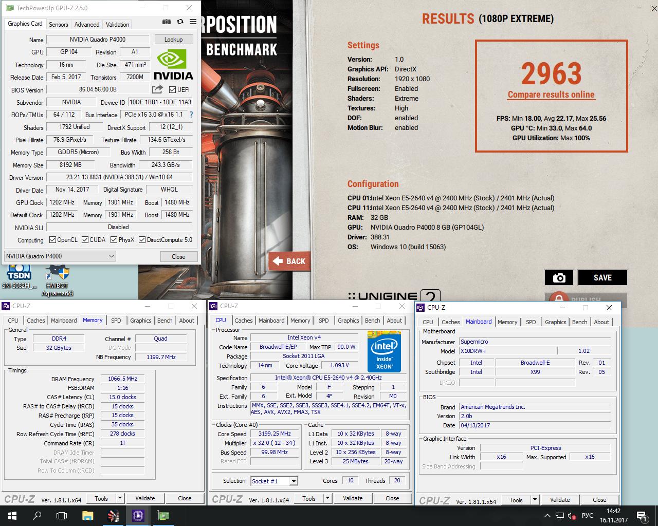 StingerYar`s Unigine Superposition - 1080P Xtreme score: 2963 Points