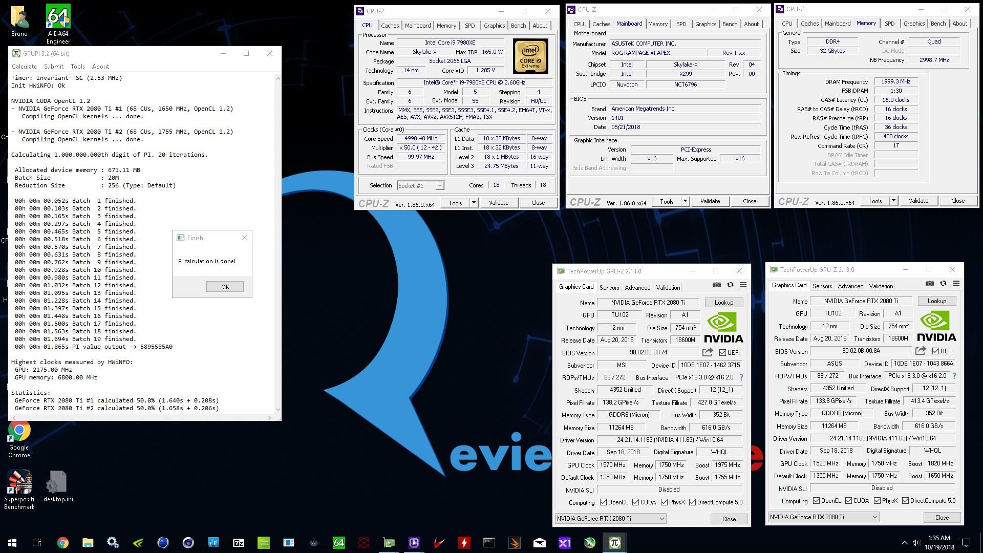 Bruno`s GPUPI - 1B score: 1sec 865ms with a GeForce RTX 2080 Ti