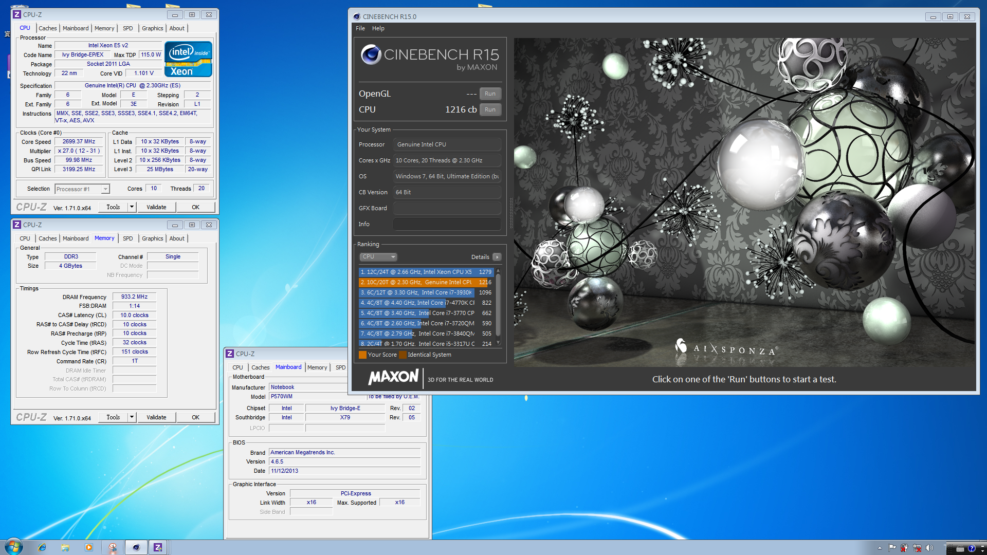 Terry702 s cinebench r15 score 1216 cb with a xeon e5 for 2670 5