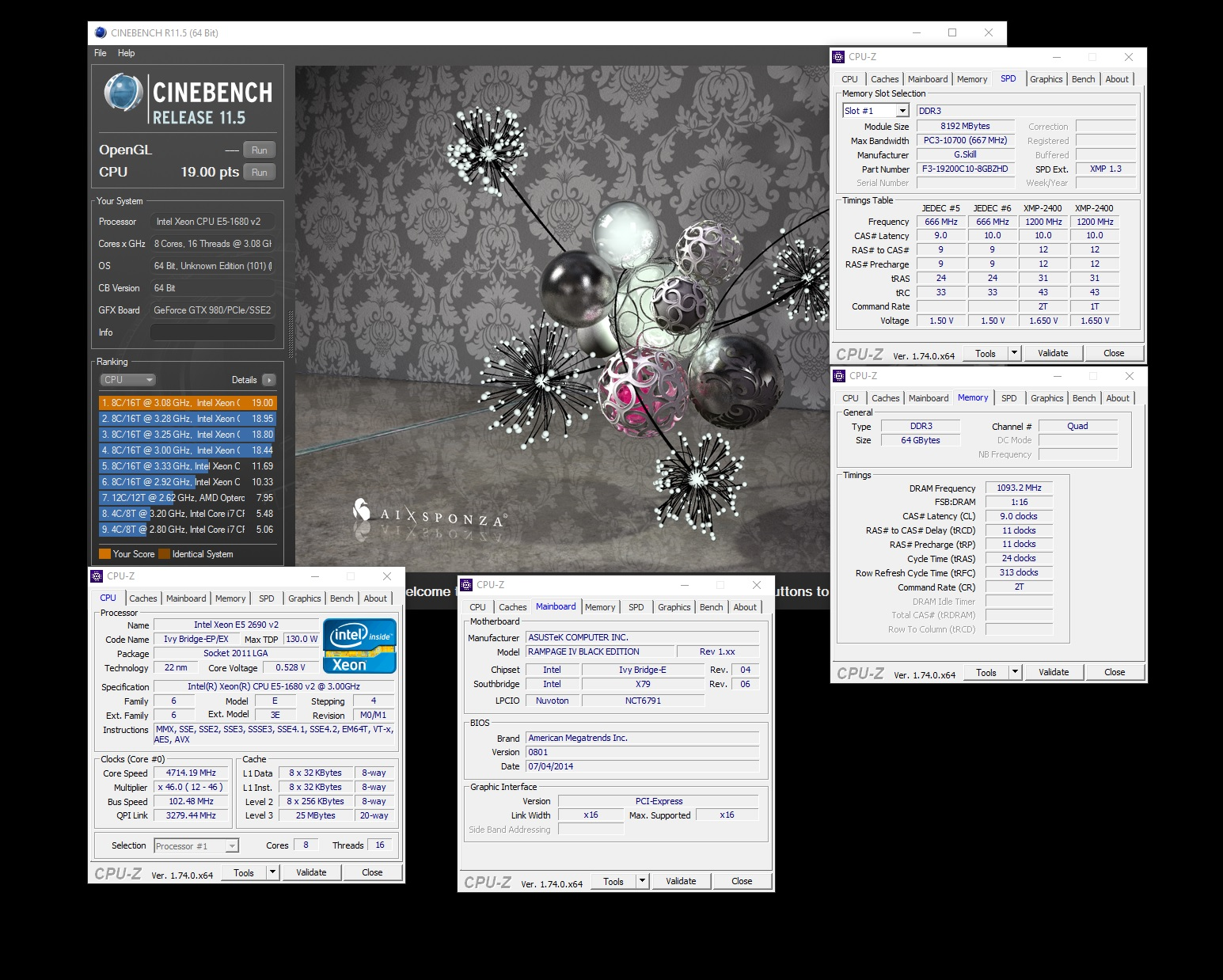 Claviger`s Cinebench - R11 5 score: 19 points with a Xeon E5