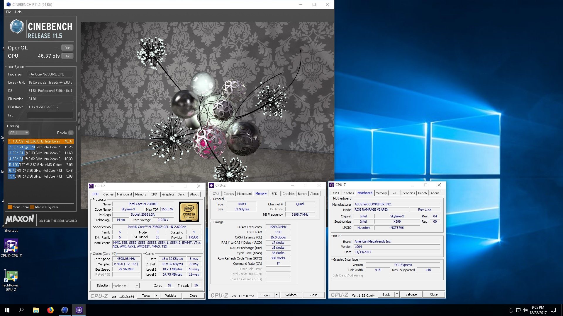 Menthol`s Cinebench - R11 5 score: 46 37 points with a Core i9 7980XE